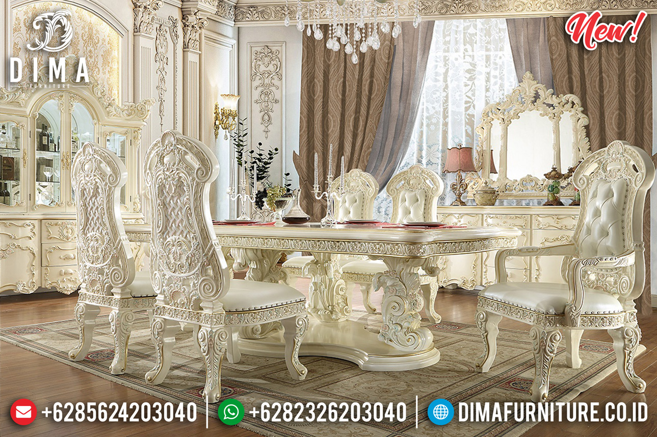 Set Meja Makan Mewah Ukiran Jepara New Duco Putih Gold Luxury DF-1264