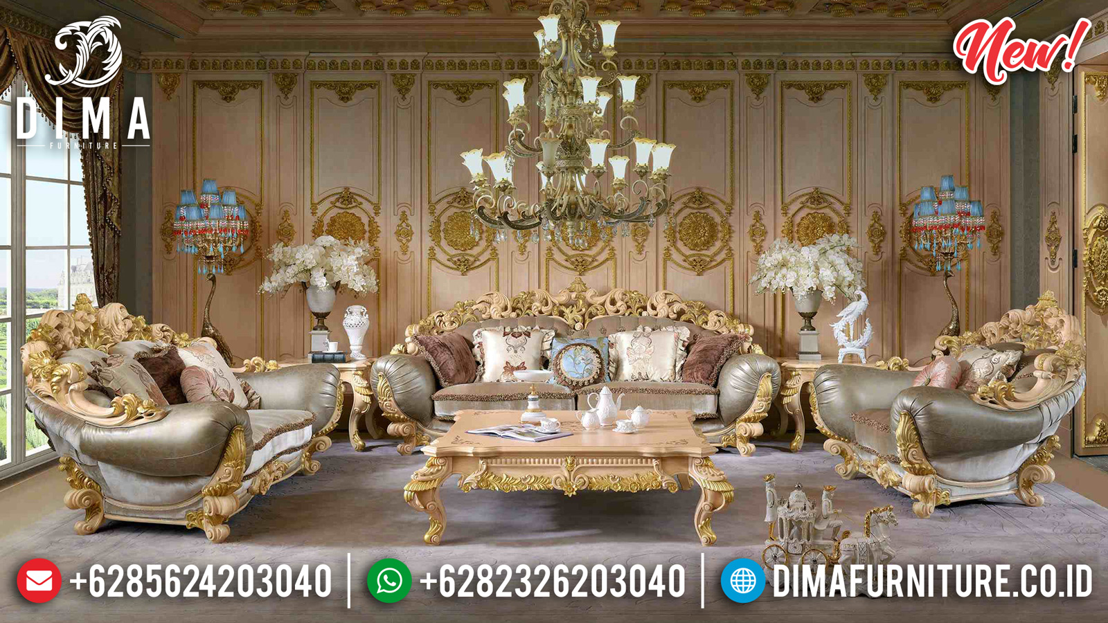 Set Royal Brunello 3 2 1 Sofa Tamu Mewah Klasik Duco Ivory Gold DF-1310