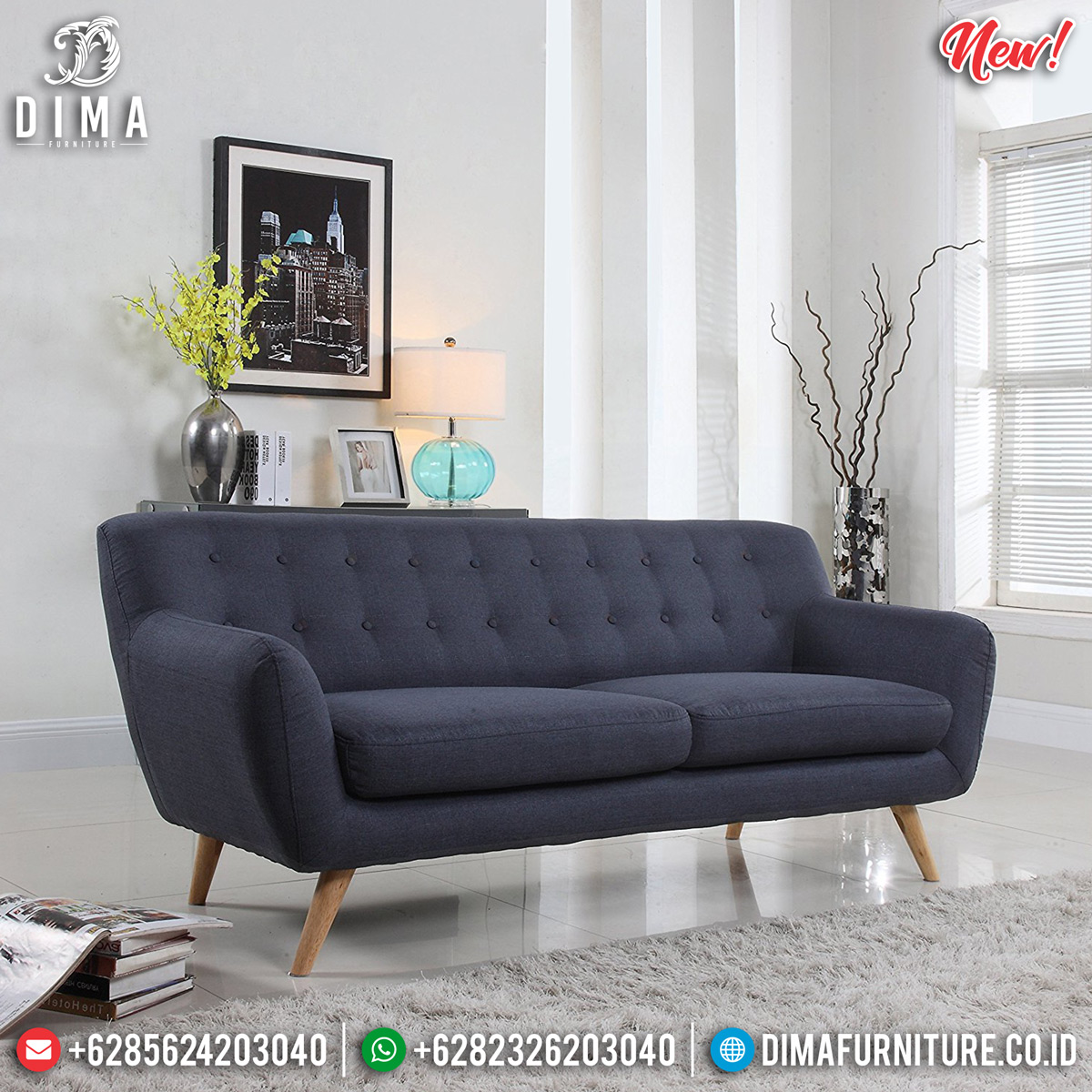 Sofa Minimalis Jepara Vintage Retro Dark Blue Natural Finish DF-1297
