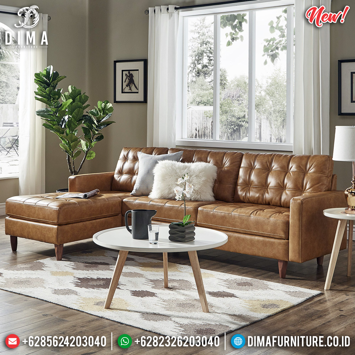 Sofa Tamu Minimalis Jepara Brown Leather DF-1299