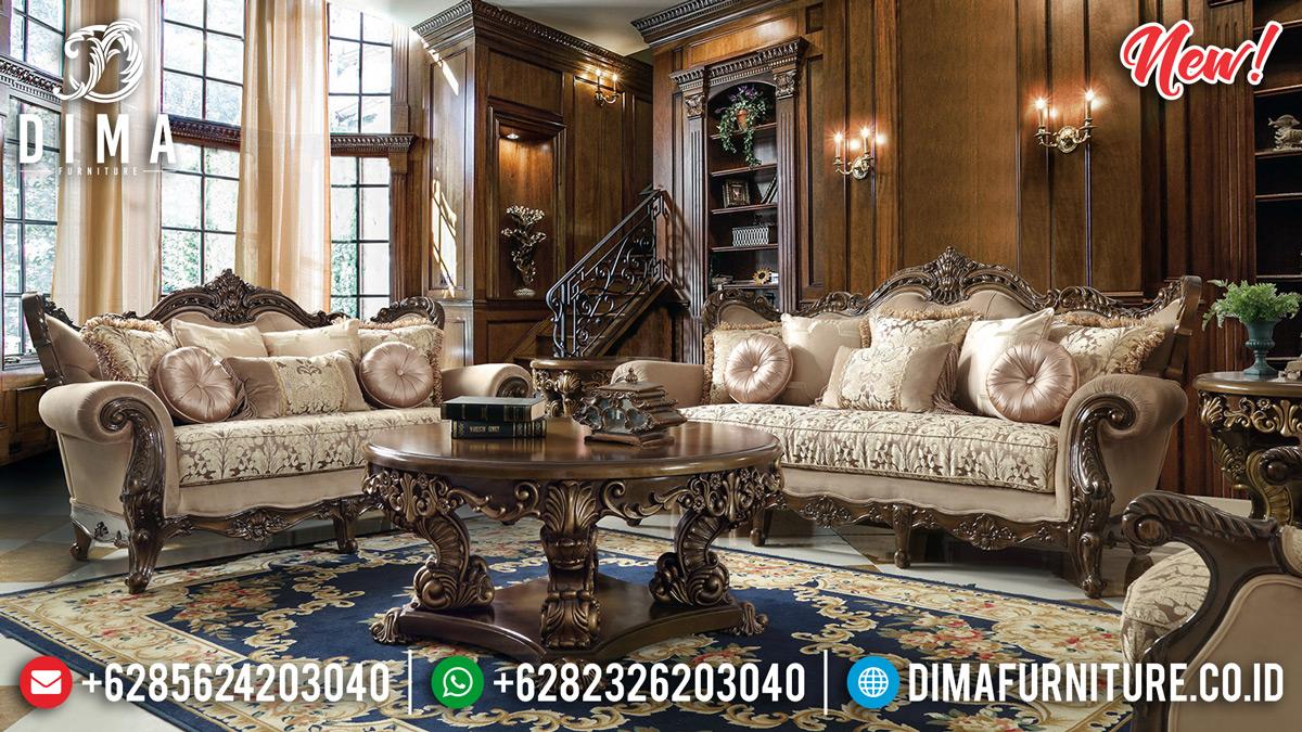 Ukiran Jepara Set Kursi Sofa Tamu Mewah Natural Jati DF-1308