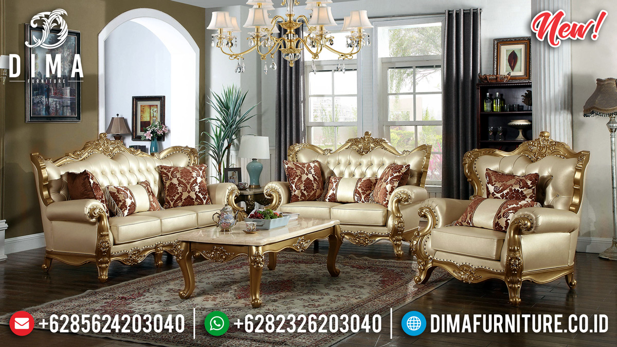 Royal Luxury Set 3 2 1 Sofa Tamu Mewah Jepara Ukiran Gold Duco DF-1319