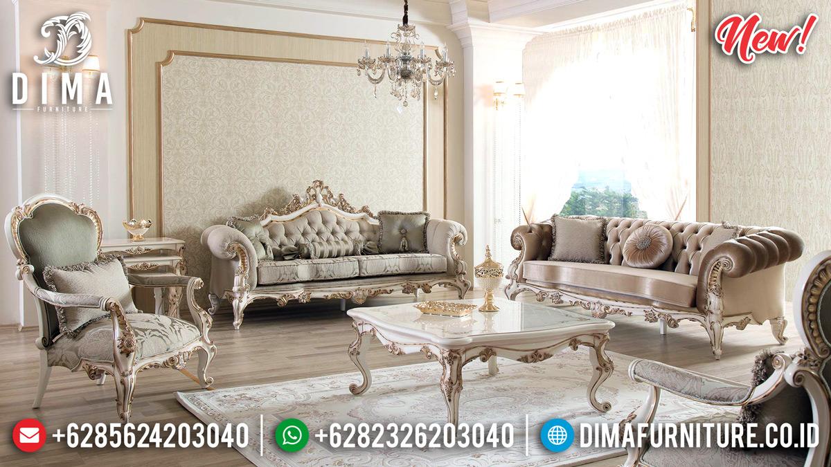 Jual Set Kursi Sofa Tamu Mewah Jepara Ukir Klasik Broken White DF-1334