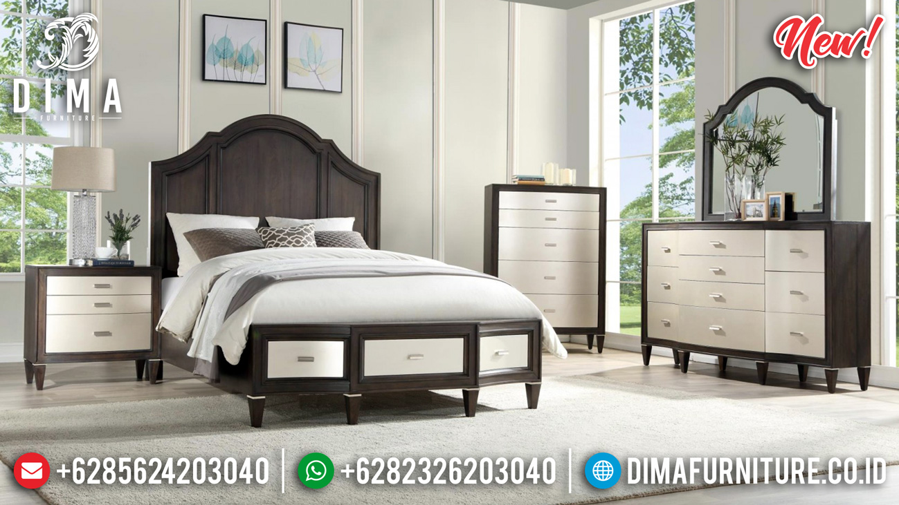 Dark Brown Natural Tempat Tidur Minimalis Jati New 2020 DF-1361
