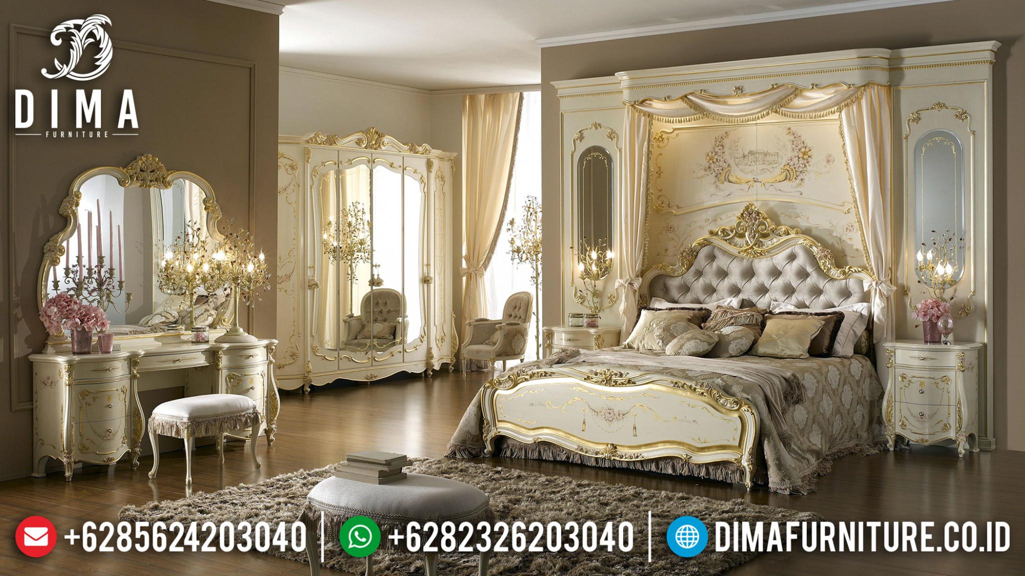 Exquisite Tempat Tidur Mewah Jepara Monnalisa Golden Ivory DF-1353