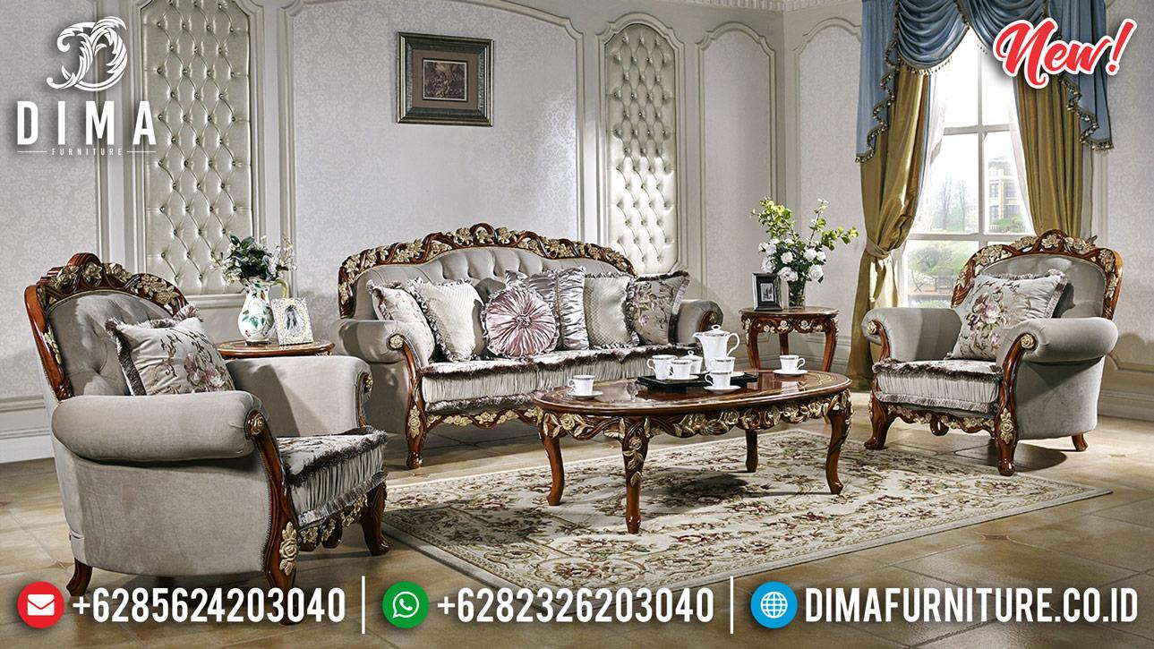 Jual Sofa Tamu Jati Jepara 3 2 1 Natural Gold Ukiran Klasik DF-1335