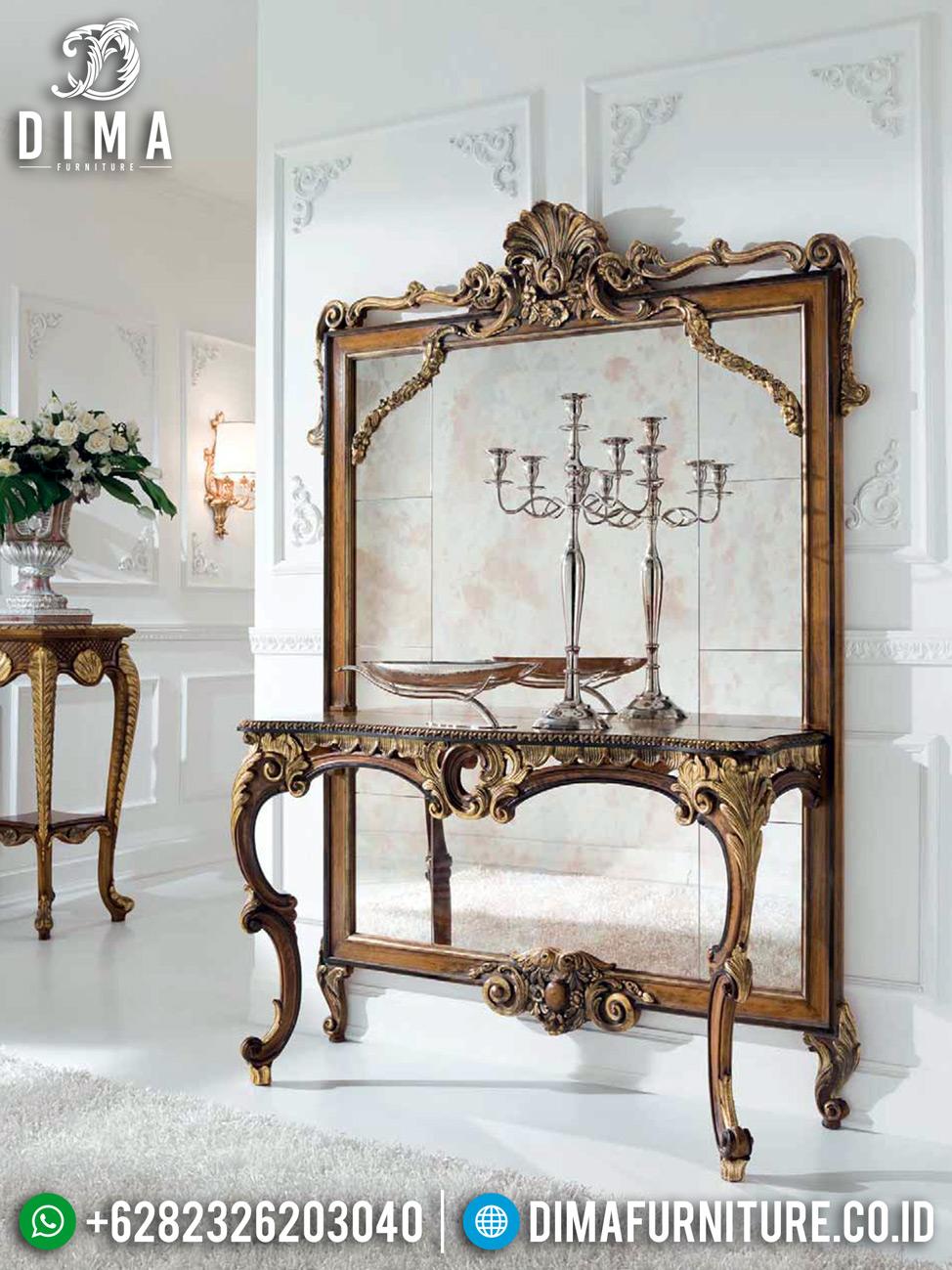 New Luxury Design Meja Konsol Mewah Jepara Natural Emas DF-1345