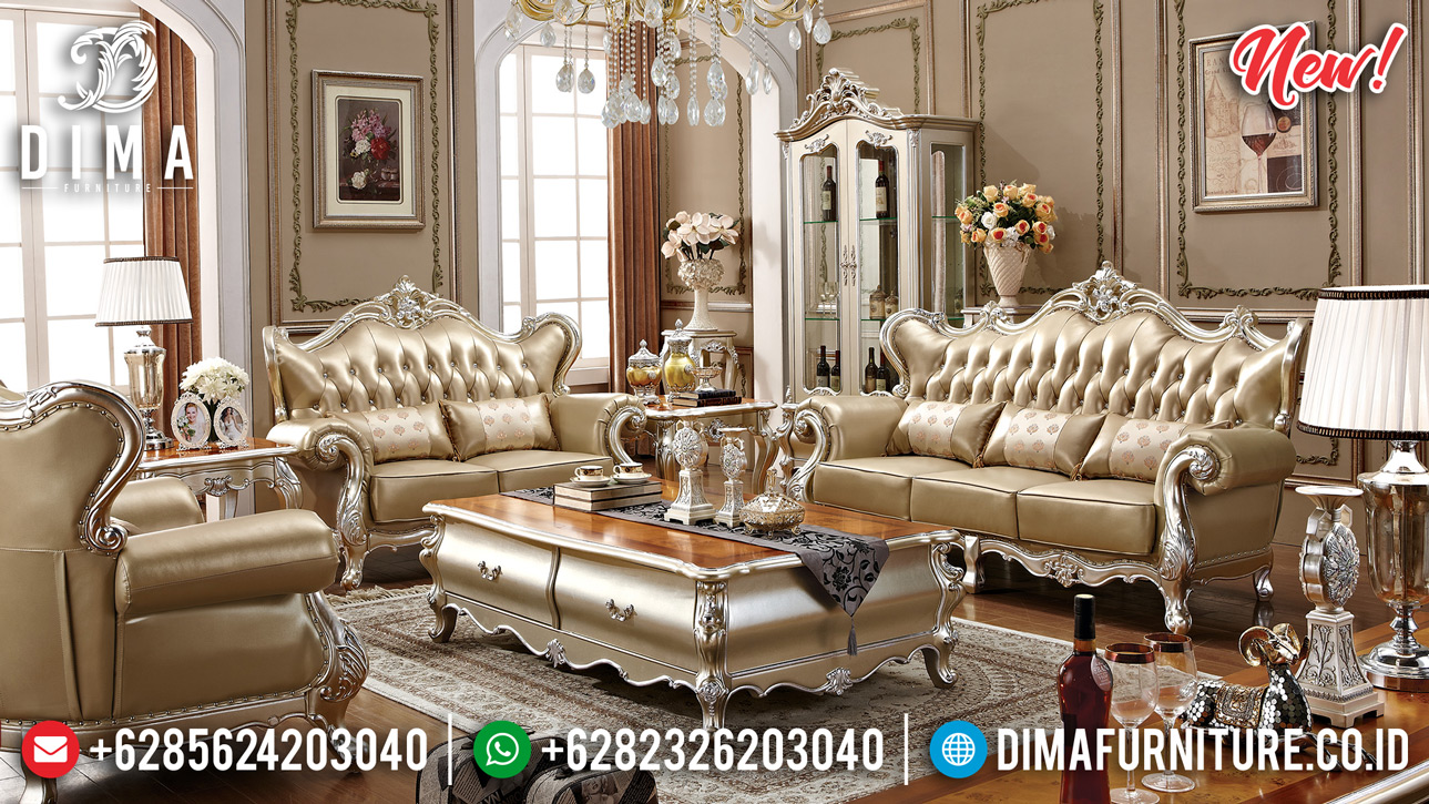 On Sale Sofa Tamu Jepara Mewah New Design Silver Duco Natural DF-1338
