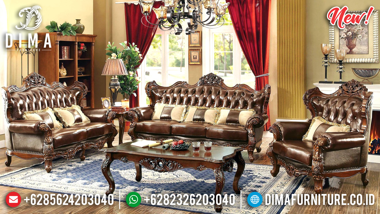 Set Kursi Sofa Tamu Jati Jepara Ukir Mewah Natural Finishing DF-1336