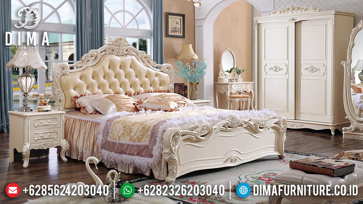Terbaik Tempat Tidur Mewah Ukiran Jepara Yenni Ivory Classic DF-1349