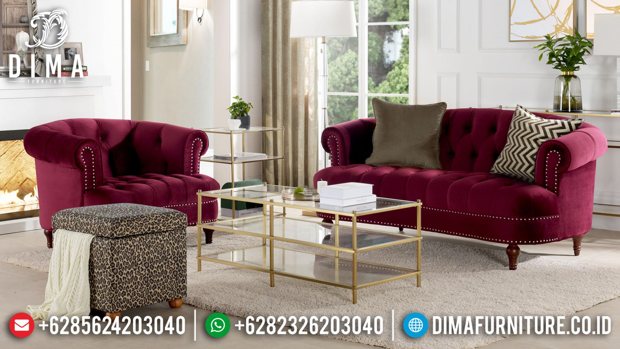 Sale Kursi Sofa Tamu Minimalis Modern Red Maroon DF-1365