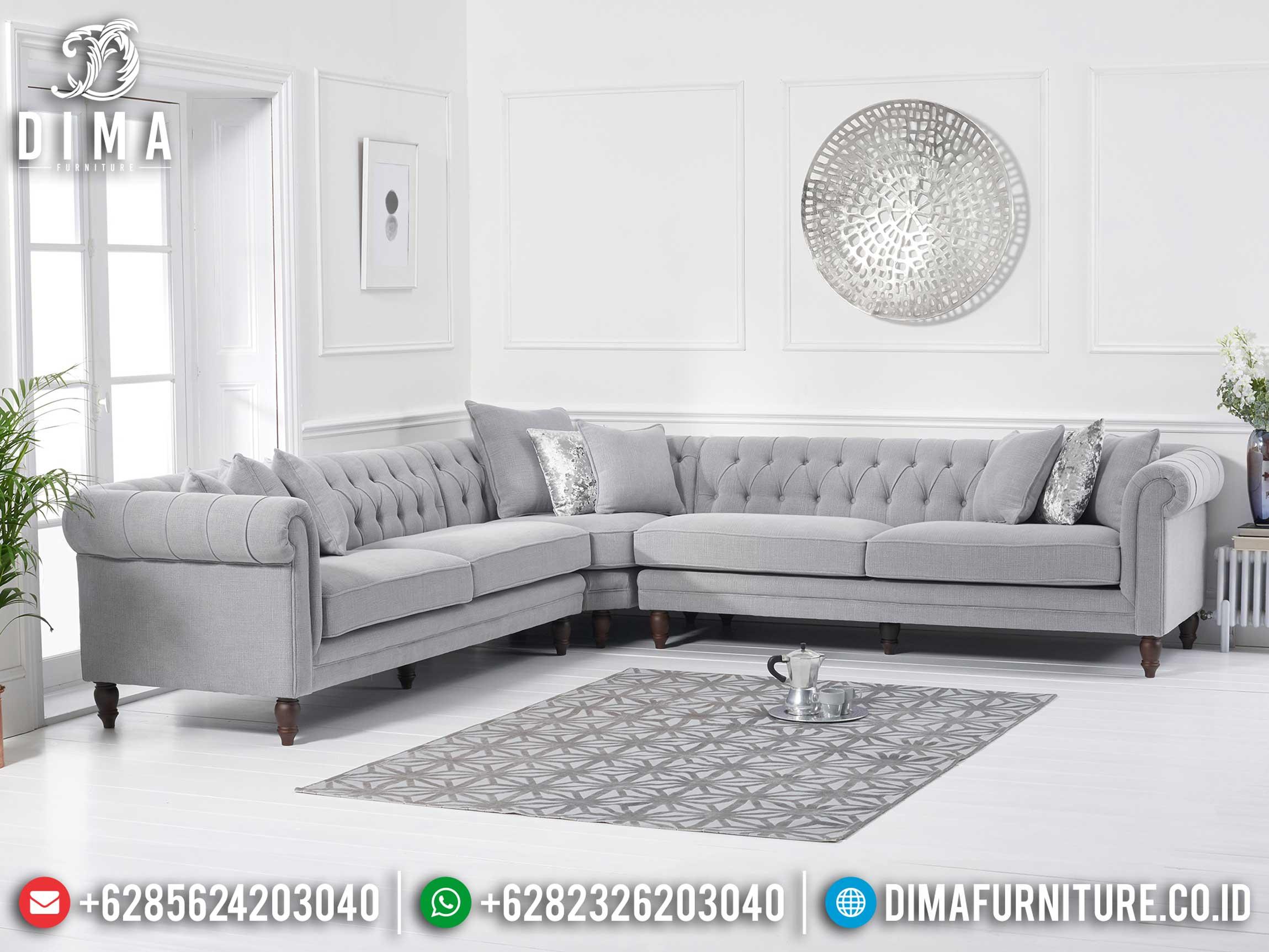 Terbaru Sofa Tamu Jepara Minimalis Sudut L Luxury Chesterfield DF-1367