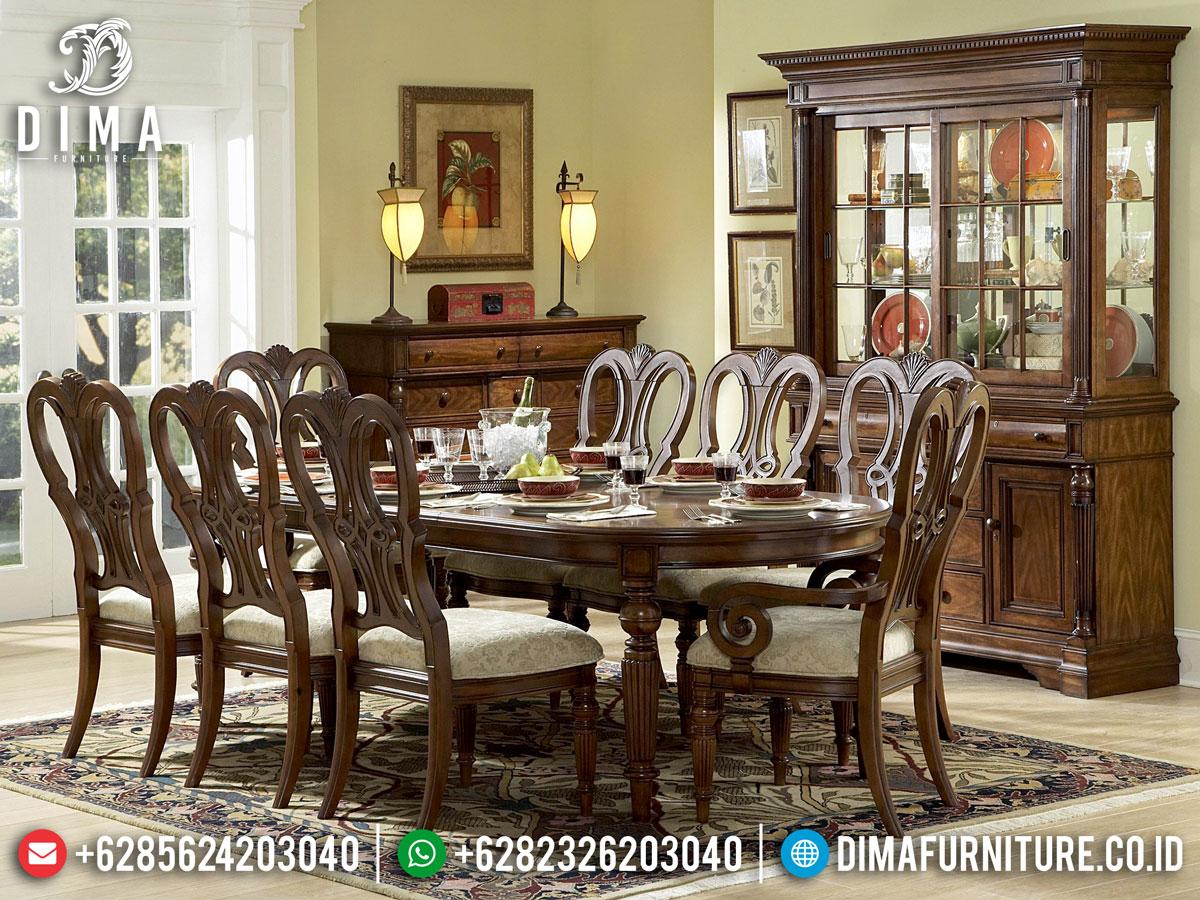 Jual Meja Makan Minimalis Jati Natural Carving Jepara Termurah DF-1391