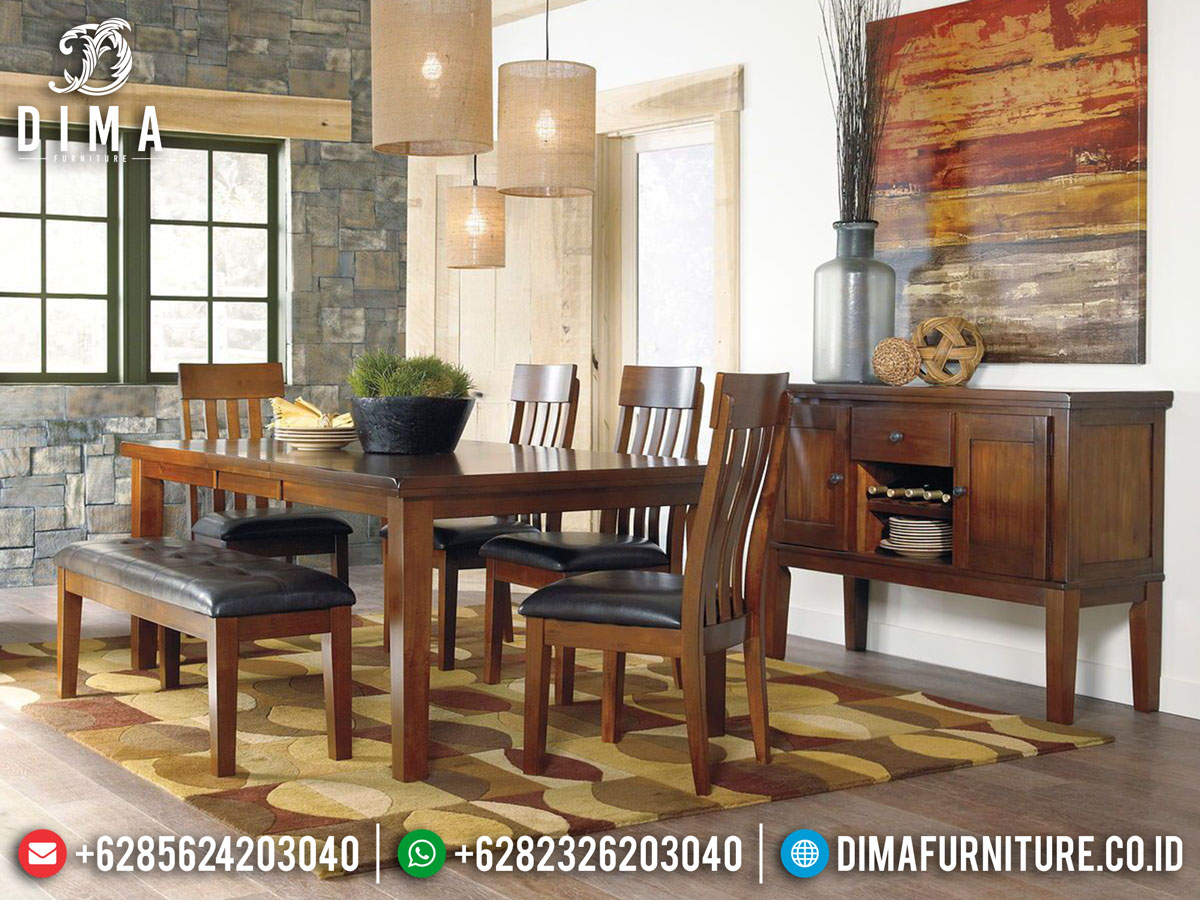 Meja Makan Minimalis Jepara Natural Classic Jati Great Solid Wood DF-1389