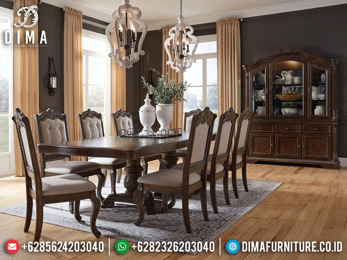Meja Makan Minimalis Kursi 8 Natural Classic Carving Luxury Terbaru DF-1387