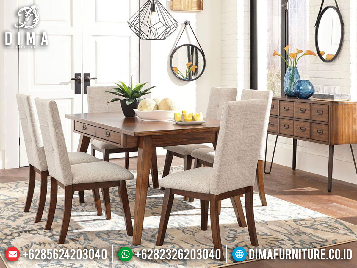 New Model Meja Makan Minimalis Jati Classic Natural Solid Wood Perhutani DF-1386