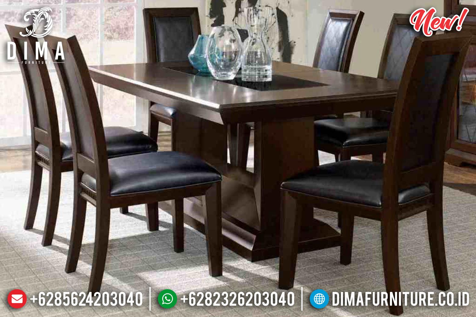Absolute Meja Makan Minimalis Jati Natural Dark Brown Luxury Classic Jepara DF-1441