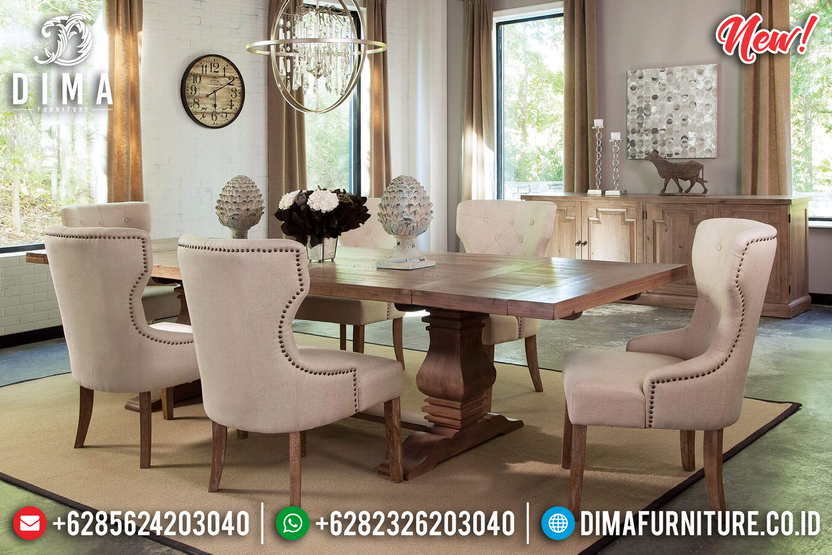 Best Item Meja Makan Minimalis Jati Jepara Natural Beauty Concept Design DF-1442