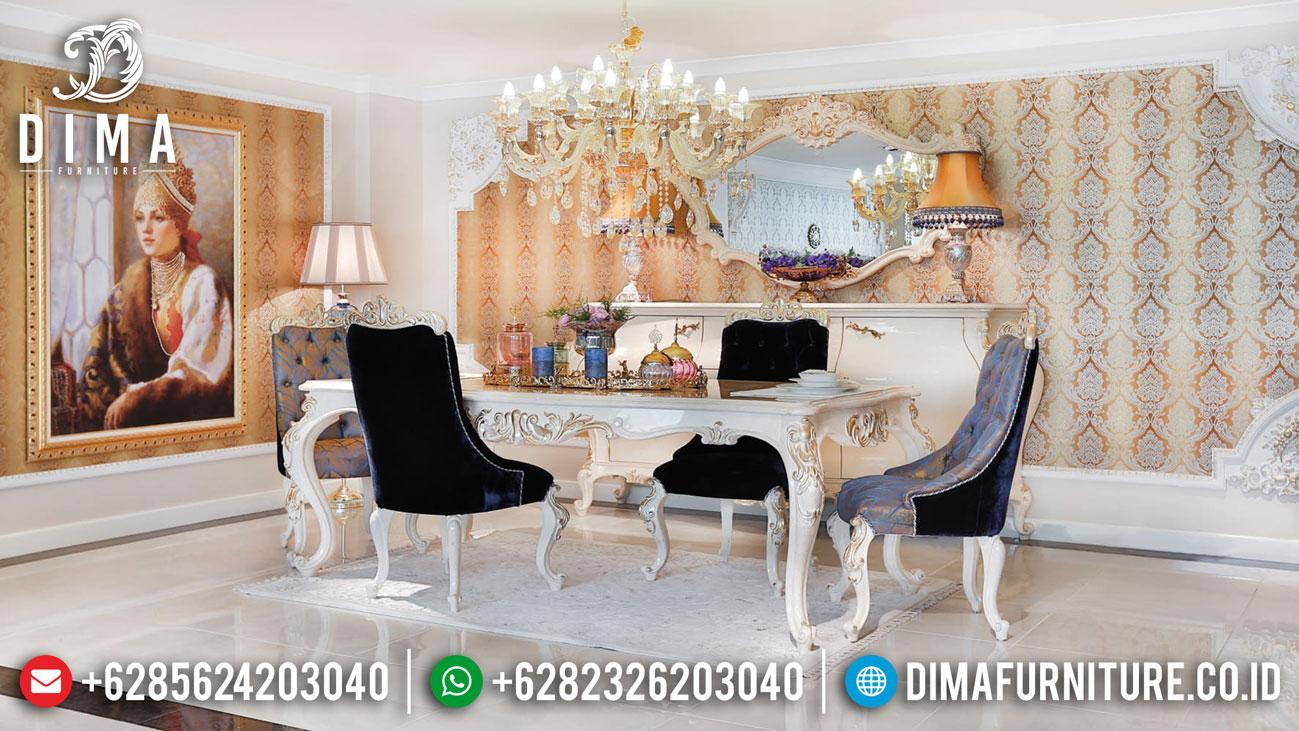 Best Sale Meja Makan Mewah Putih Ukiran Jepara Classic Luxury Design DF-1413