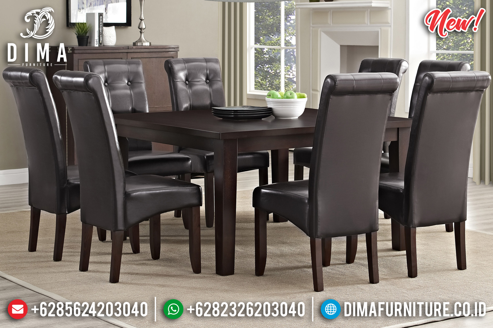 Classic Style Meja Makan Minimalis Jepara Natural Jati New Oscar Leather DF-1443