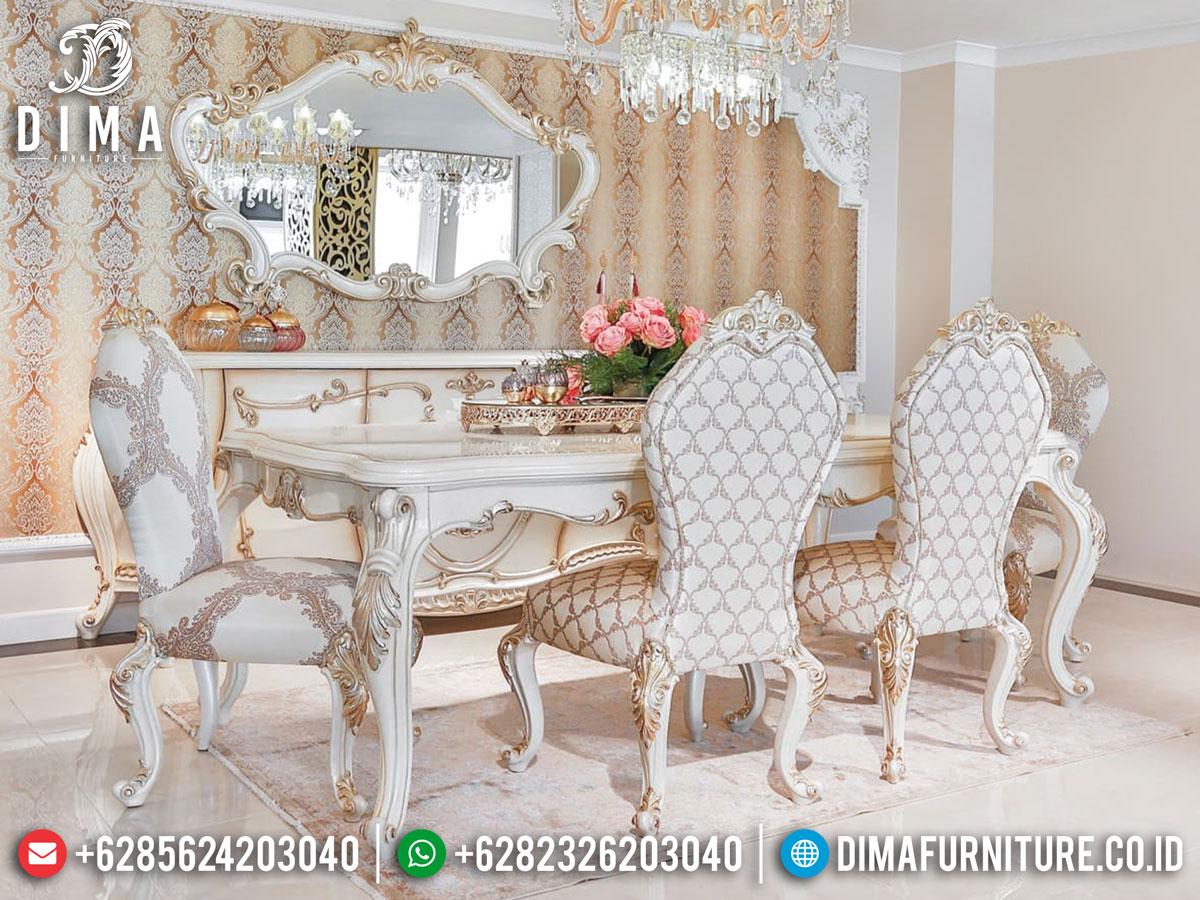 Design Luxury Meja Makan Mewah Jepara White Duco Combination Terbaru DF-1405