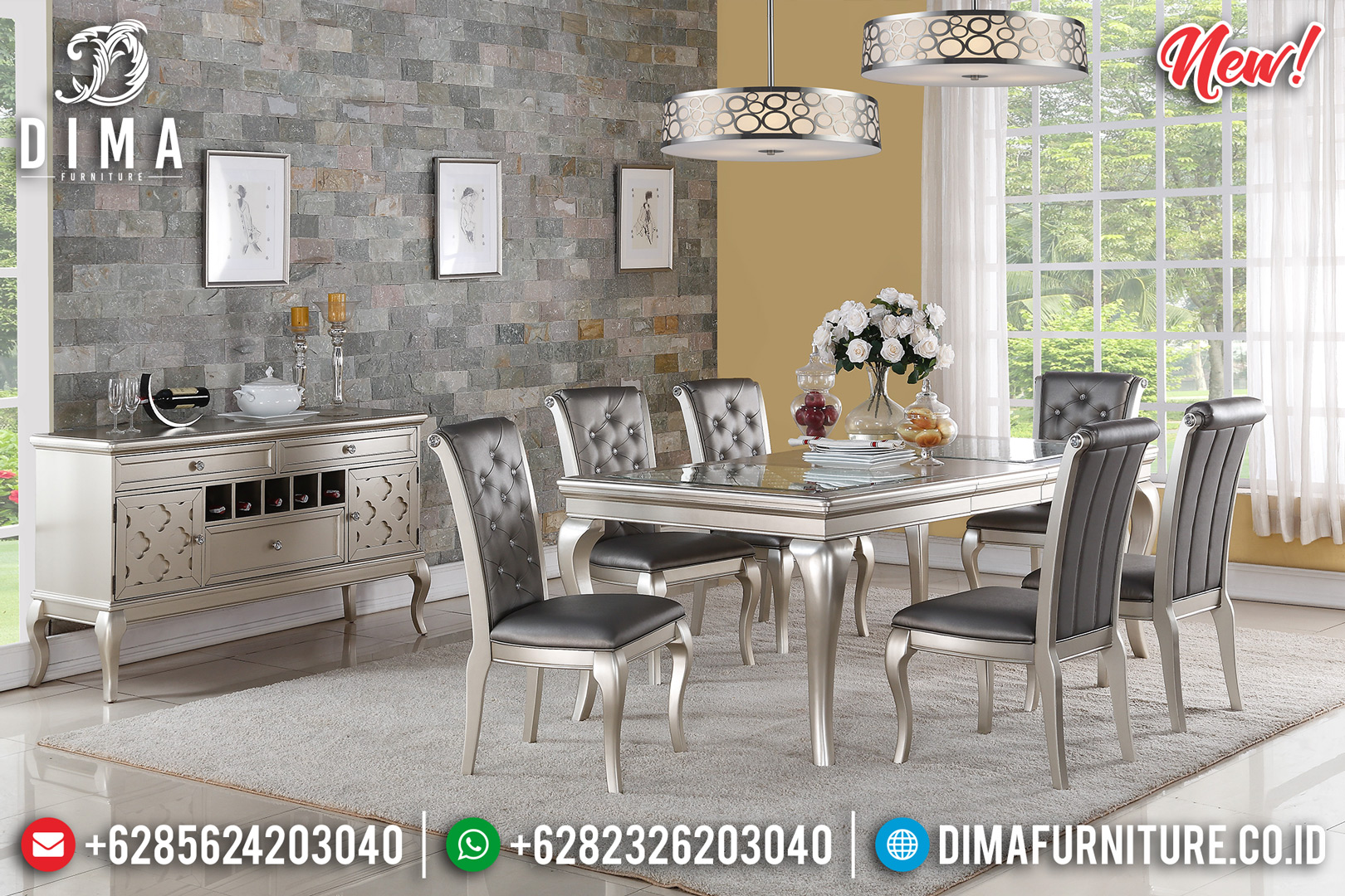 Flash Sale Day Meja Makan Minimalis Modern Silver Champagne Color Glossy DF-1446