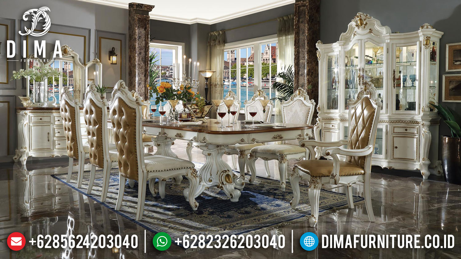 Harga Meja Makan Mewah Jepara Luxury Carving Empire Design Majestic DF-1408