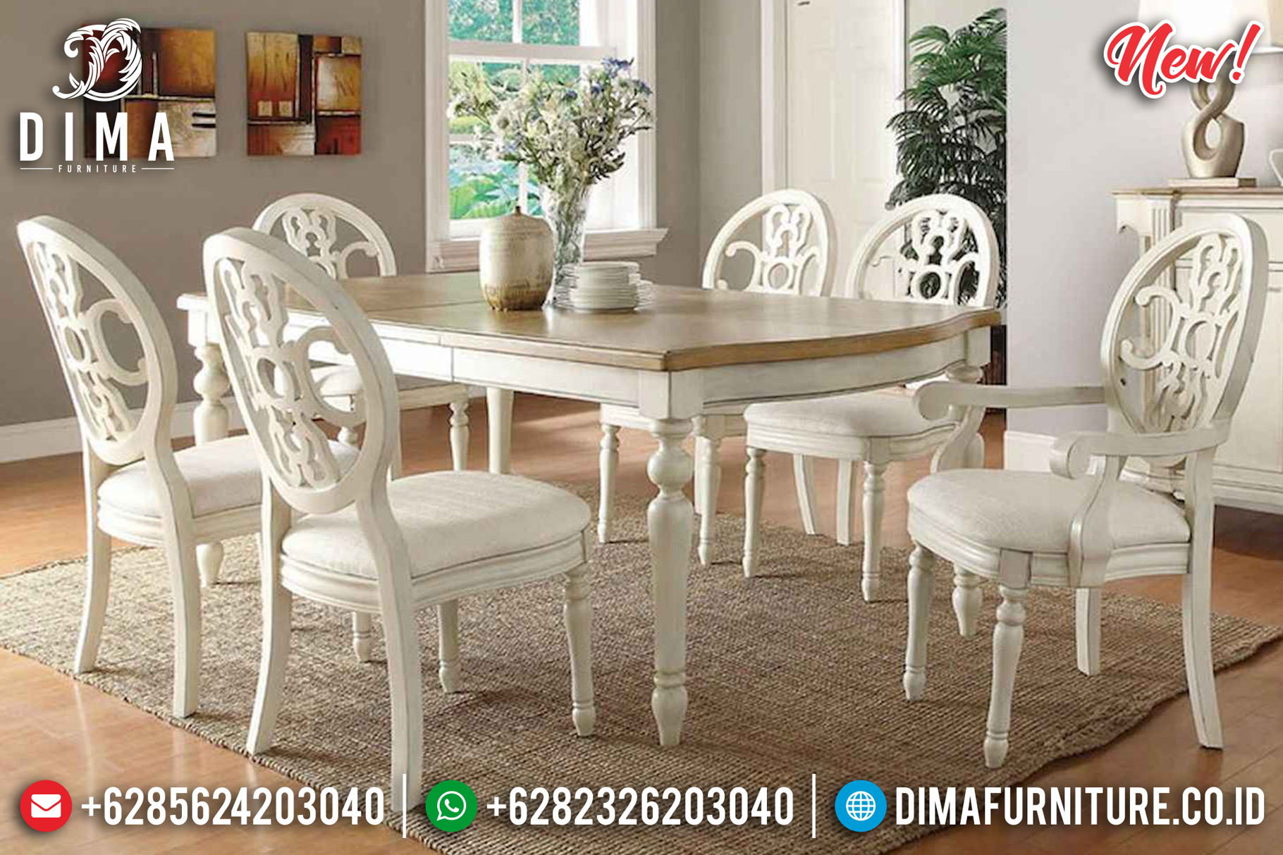 Harga Meja Makan Minimalis Jepara Classic Luxury Beauty Retro France Style DF-1448