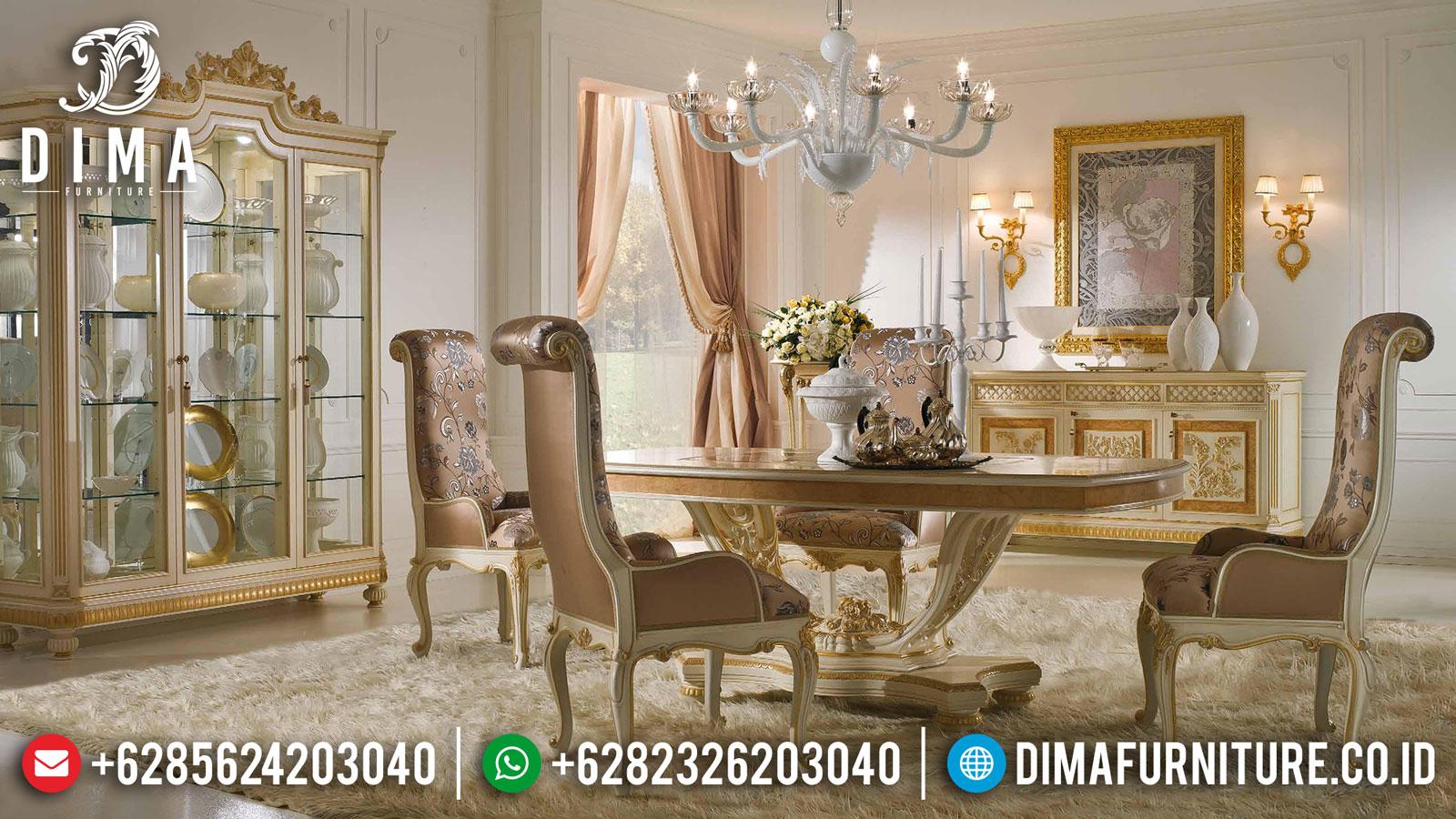Highest Quality Meja Makan Jepara Mewah Classic Broken White Df-1432