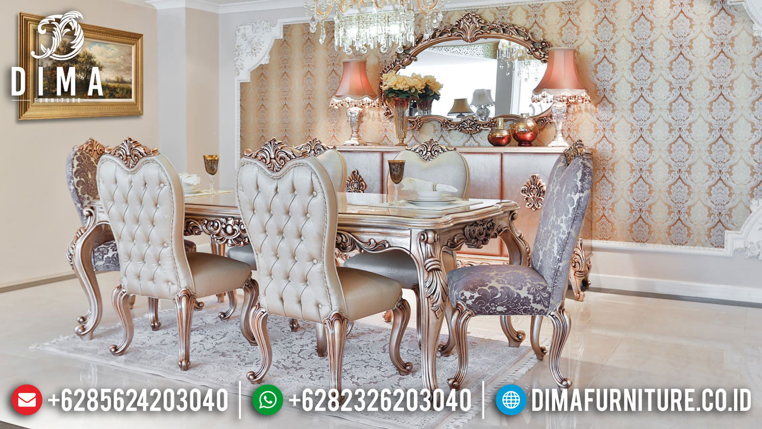Jual Meja Makan Mewah Ukiran Rose Ruby Luxury Furniture Jepara Update DF-1412
