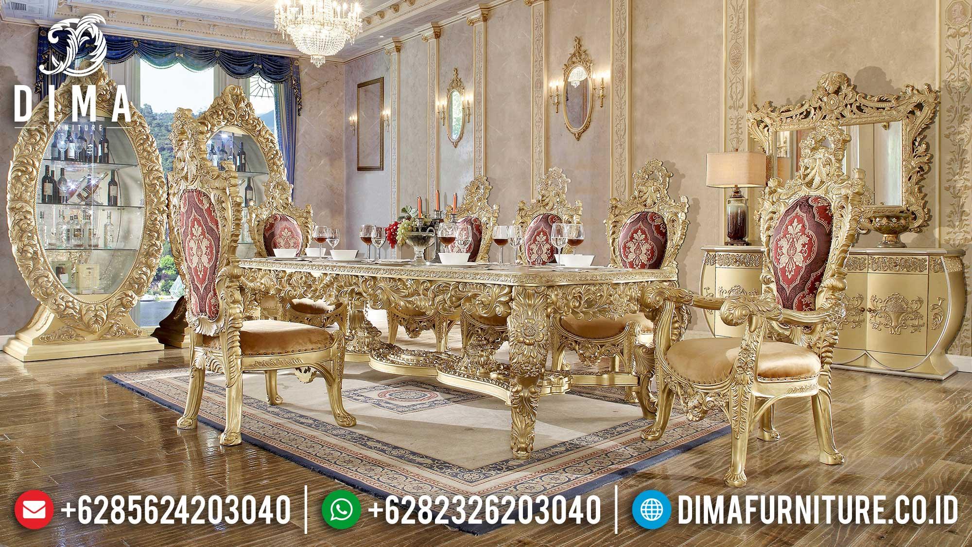 King Set Meja Makan Mewah Berukiran Jepara Gold Duco DF-1433