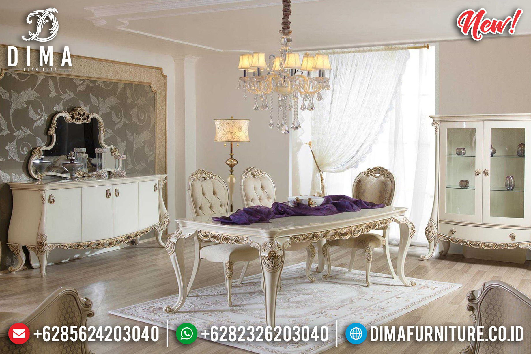 Meja Makan Mewah Pamela Luxury Carving New Furniture Jepara Design DF-1457