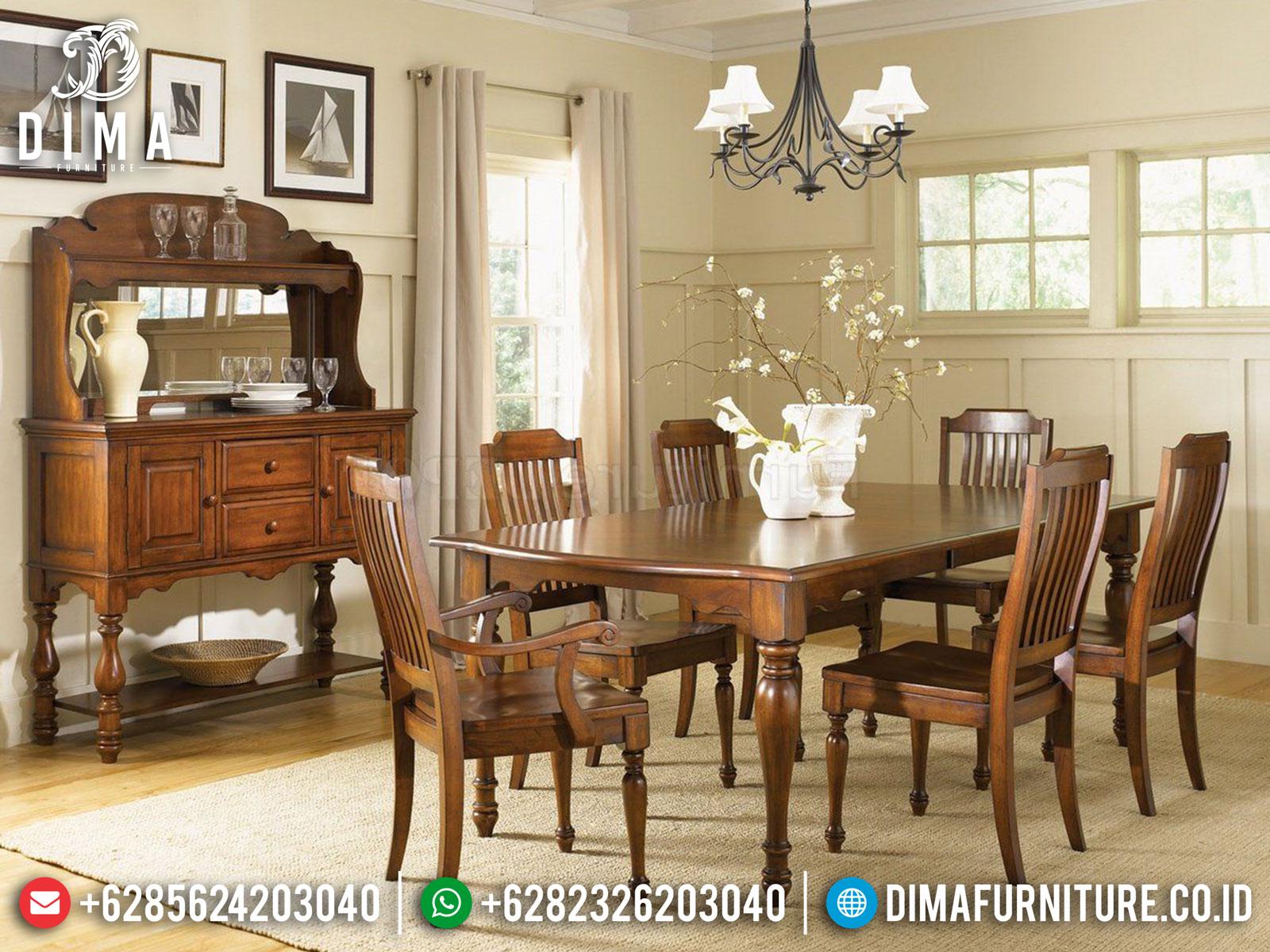 Meja Makan Minimalis Klasik Jati Natural Glossy Great Solid Wood Perhutani DF-1394