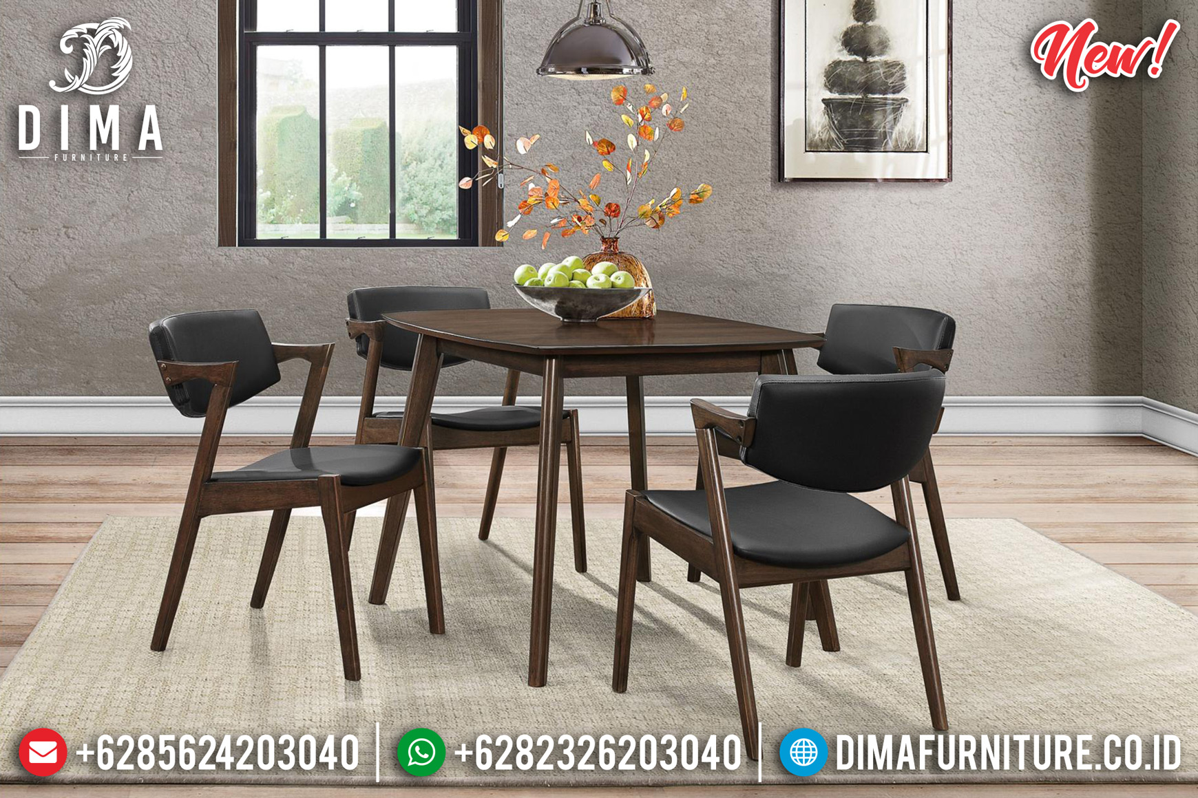 New Meja Makan Minimalis Giovani Natural Jati Jepara Luxury Furniture Jepara DF-1447