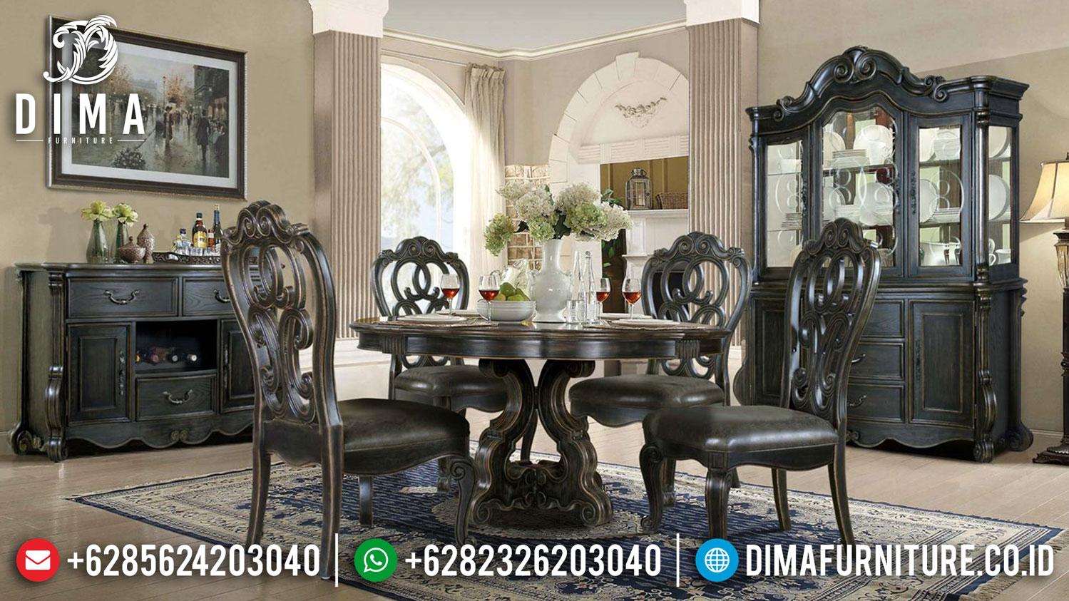 Sale Meja Makan Mewah Bundar Classic Design Luxury Black Vintage Color DF-1415
