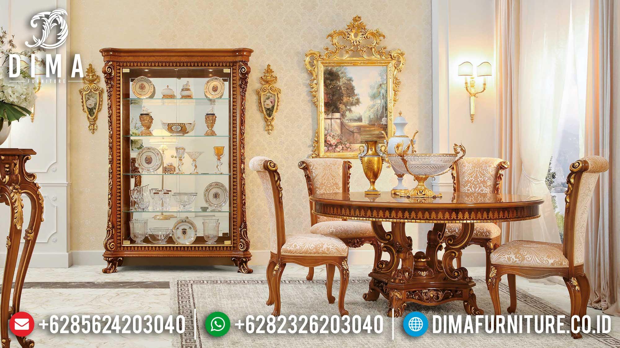 Set Kursi 4-12 Meja Makan Mewah Jepara Natural Gold DF-1436