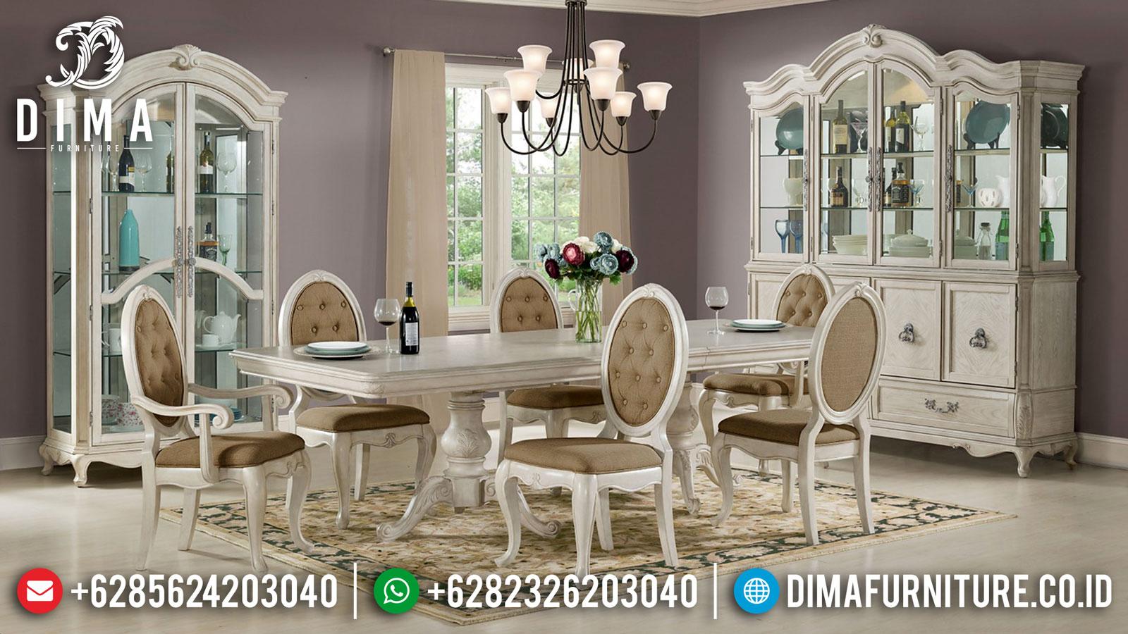 Set Meja Makan Minimalis Mewah Rustic Putih Duco DF-1429