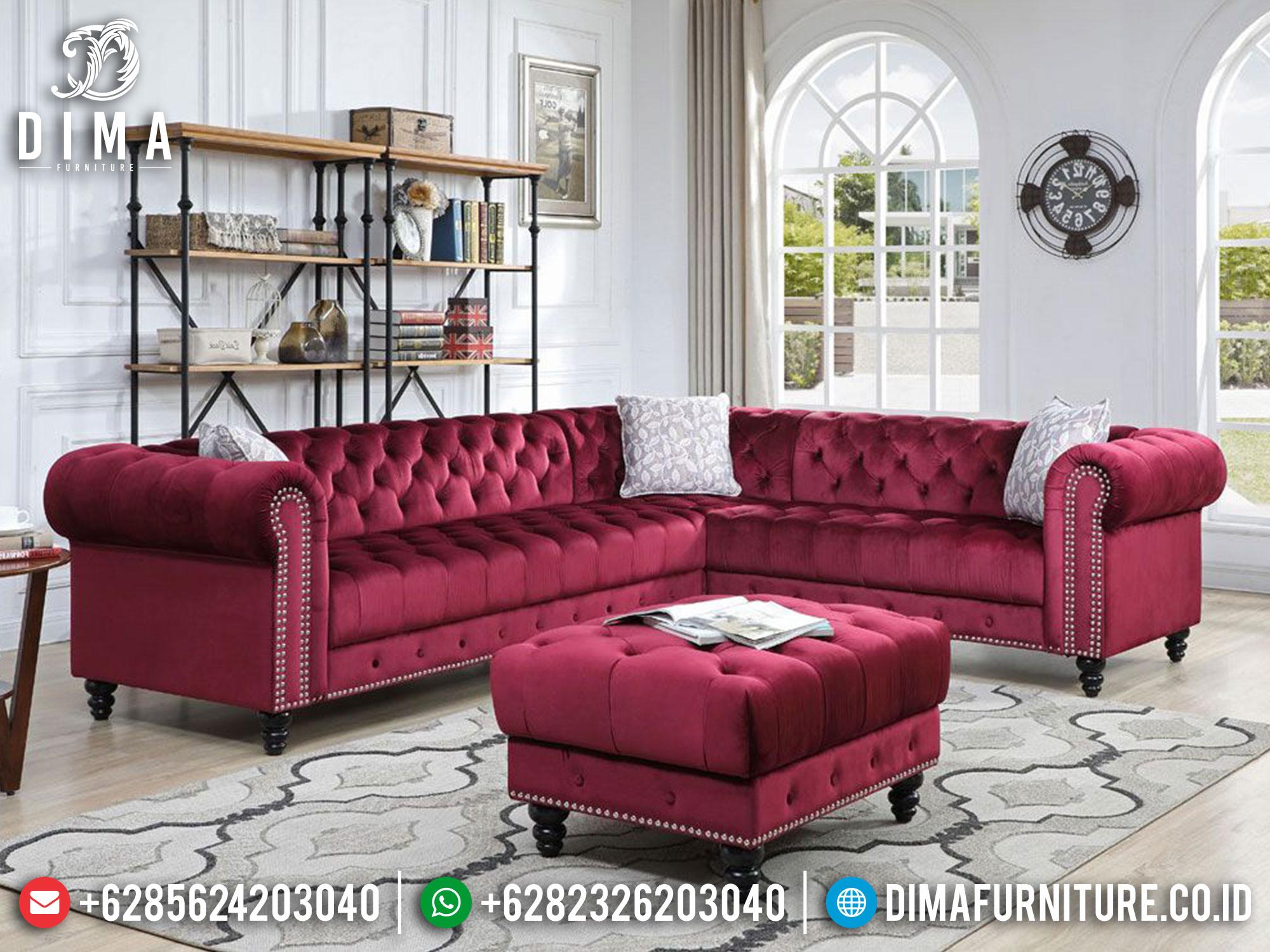 Sofa Sudut L Minimalis Mewah Jepara Maroon Red Df-1422