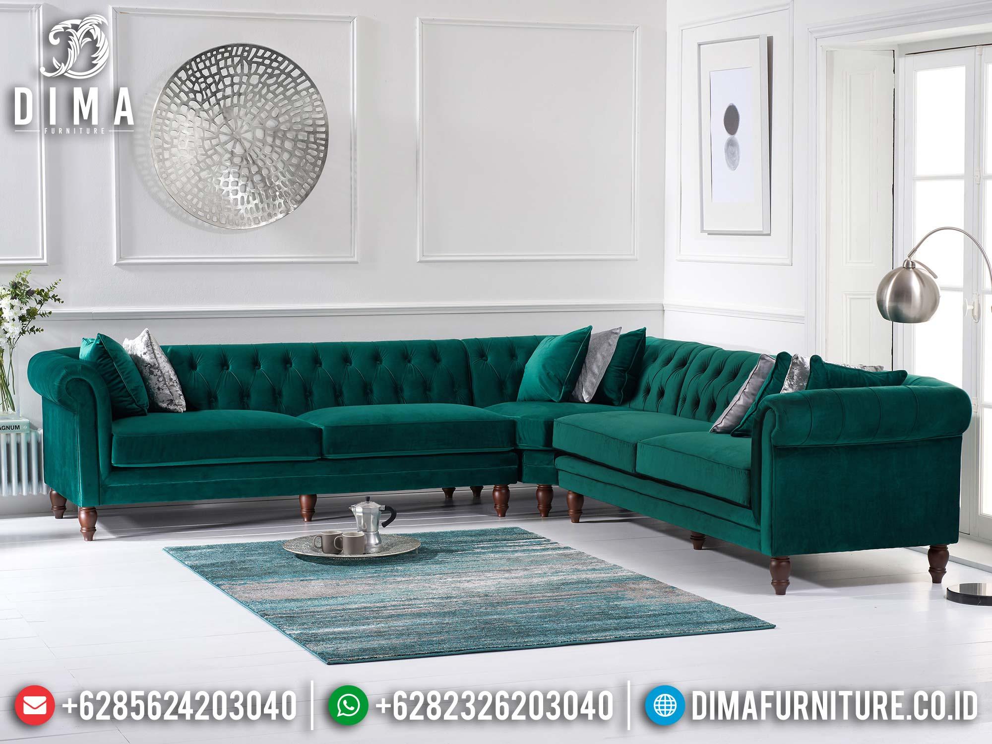 Tosca Green Sofa Tamu Minimalis Jepara Sudut L Terbaru Df-1419
