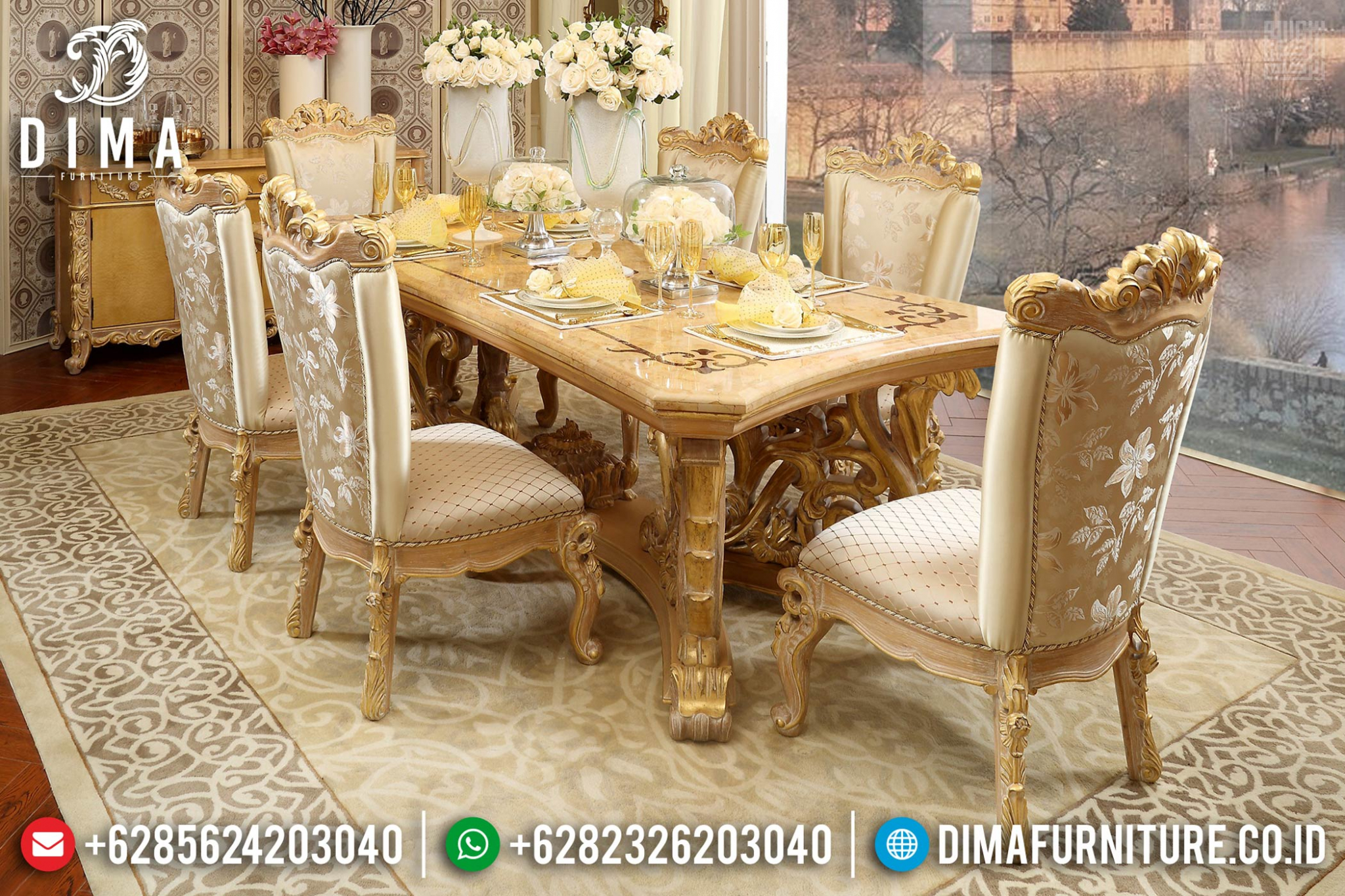 Various Meja Makan Mewah Jepara Golden Gold Glossy Luxury Color Terbaru DF-1462
