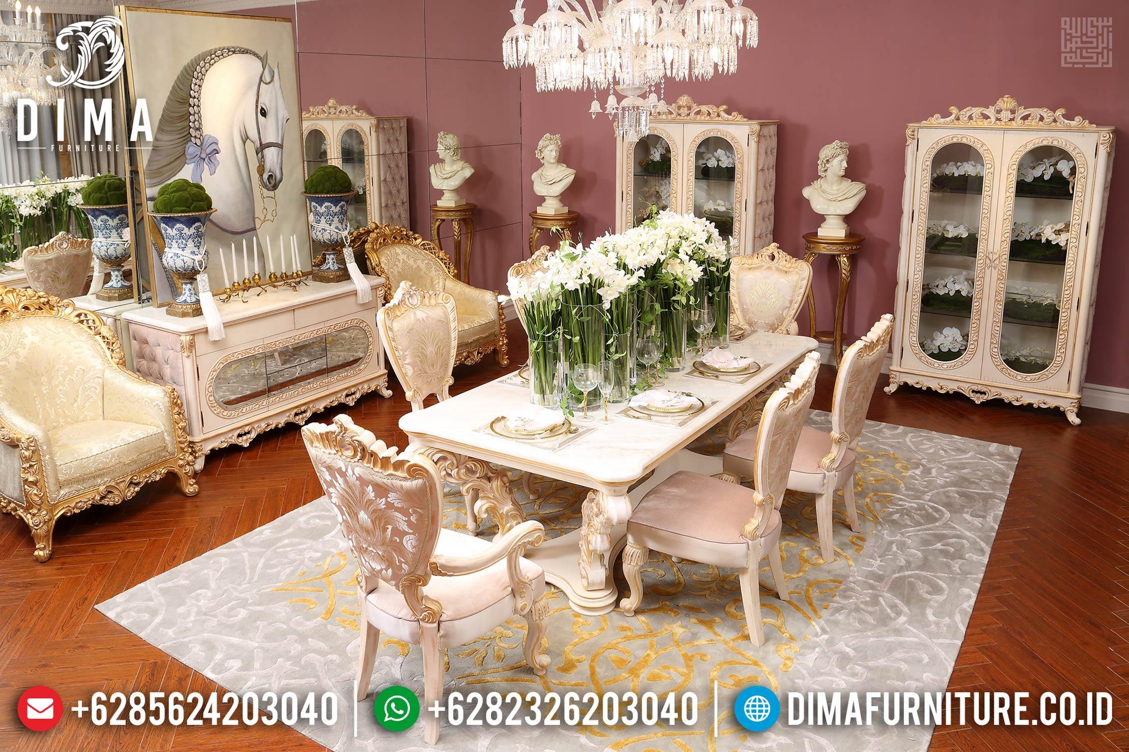 Wonderful Set Meja Makan Mewah, Kursi Meja Makan Ukiran Luxury, Meja Makan Mewah Terbaru DF-1463