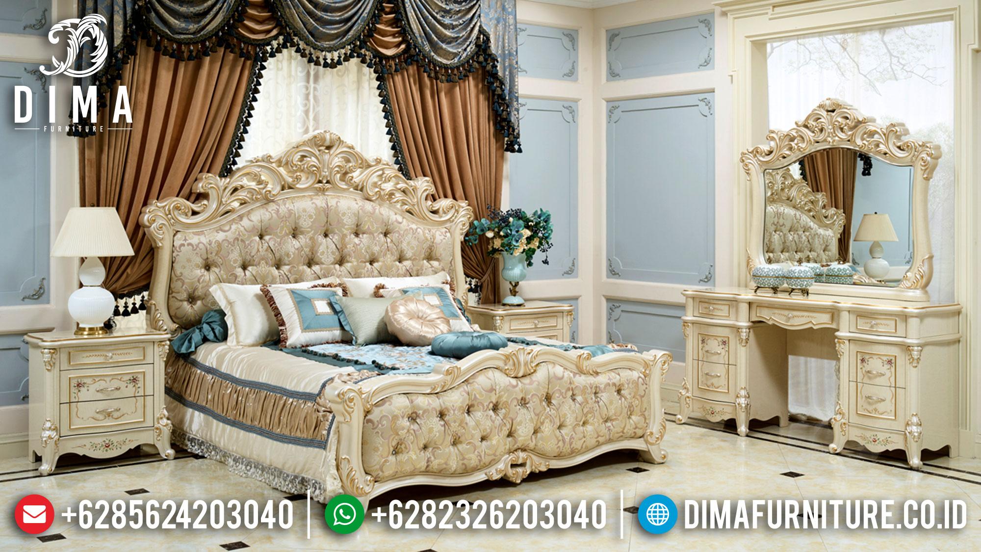 Jual Kamar Set Mewah Klasik Jepara Gold Pearl White DF-1475