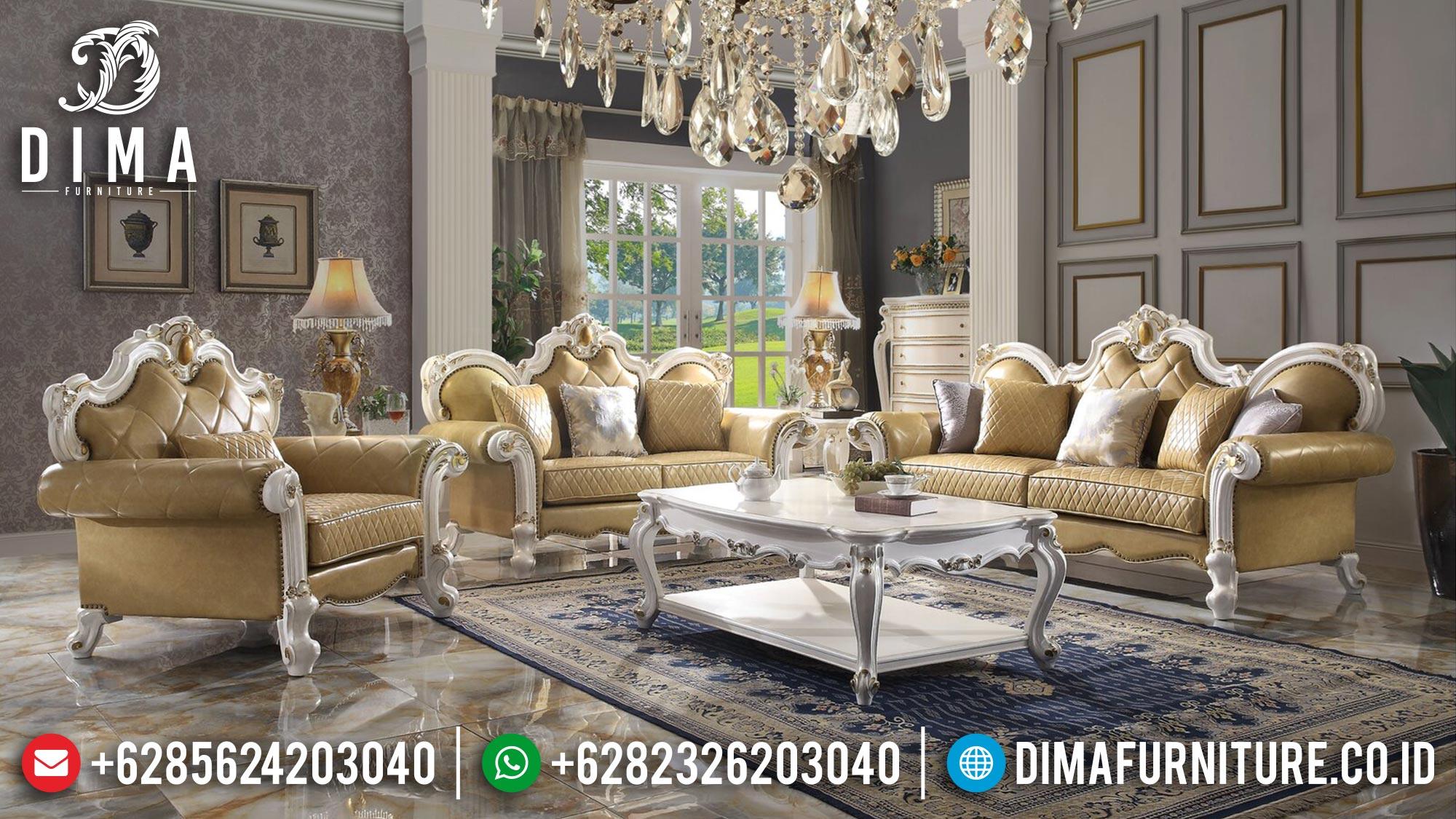 Jual Sofa Tamu Jepara Mewah Terbaru Putih Gold Duco Arisa DF-1479