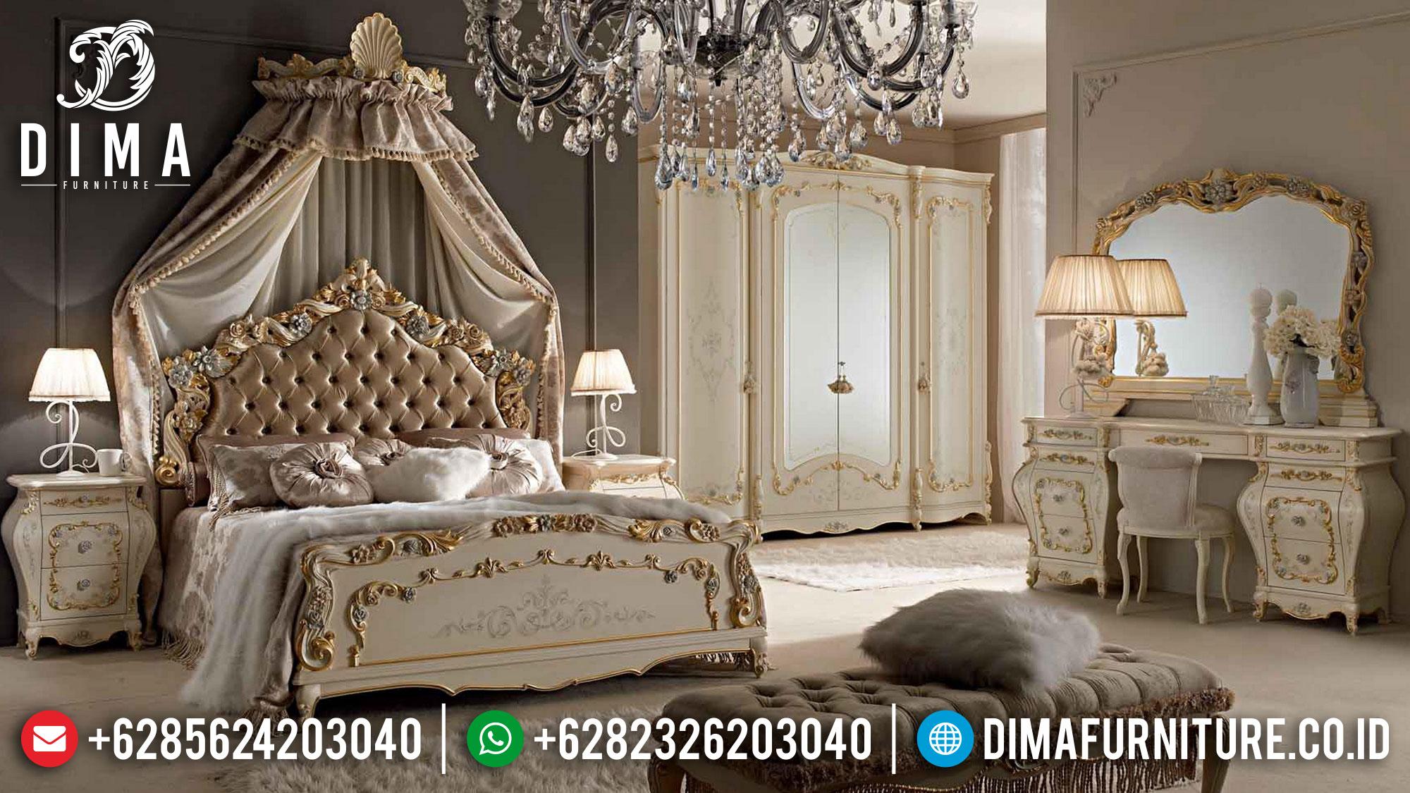 Kamar Set Mewah Jepara Ukiran Terbaru Ivory Gold New Luxury DF-1474