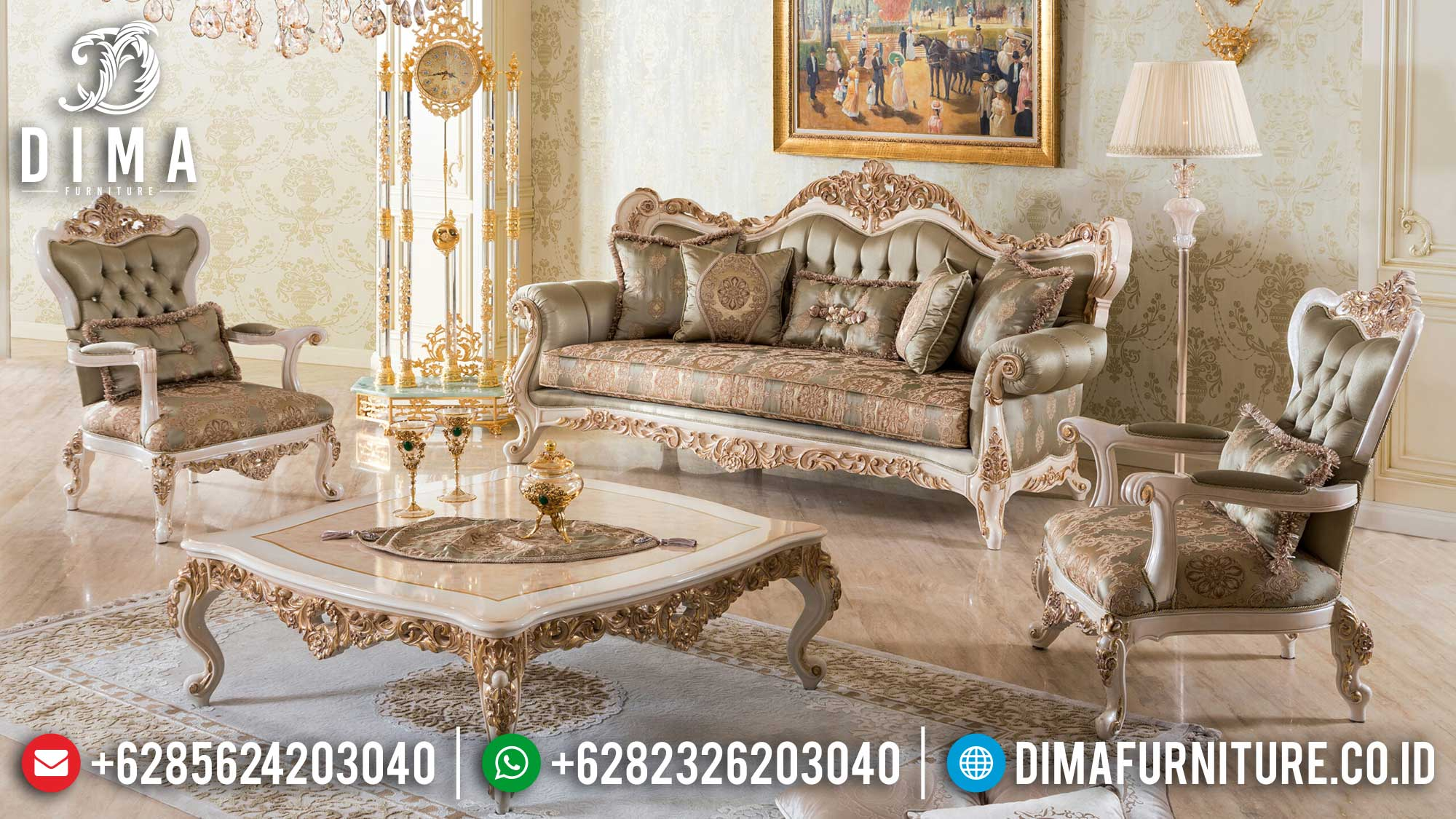 Model Terbaru Set Sofa Tamu Mewah Ukir Jepara Gold New Prada Vittoria Df-1471
