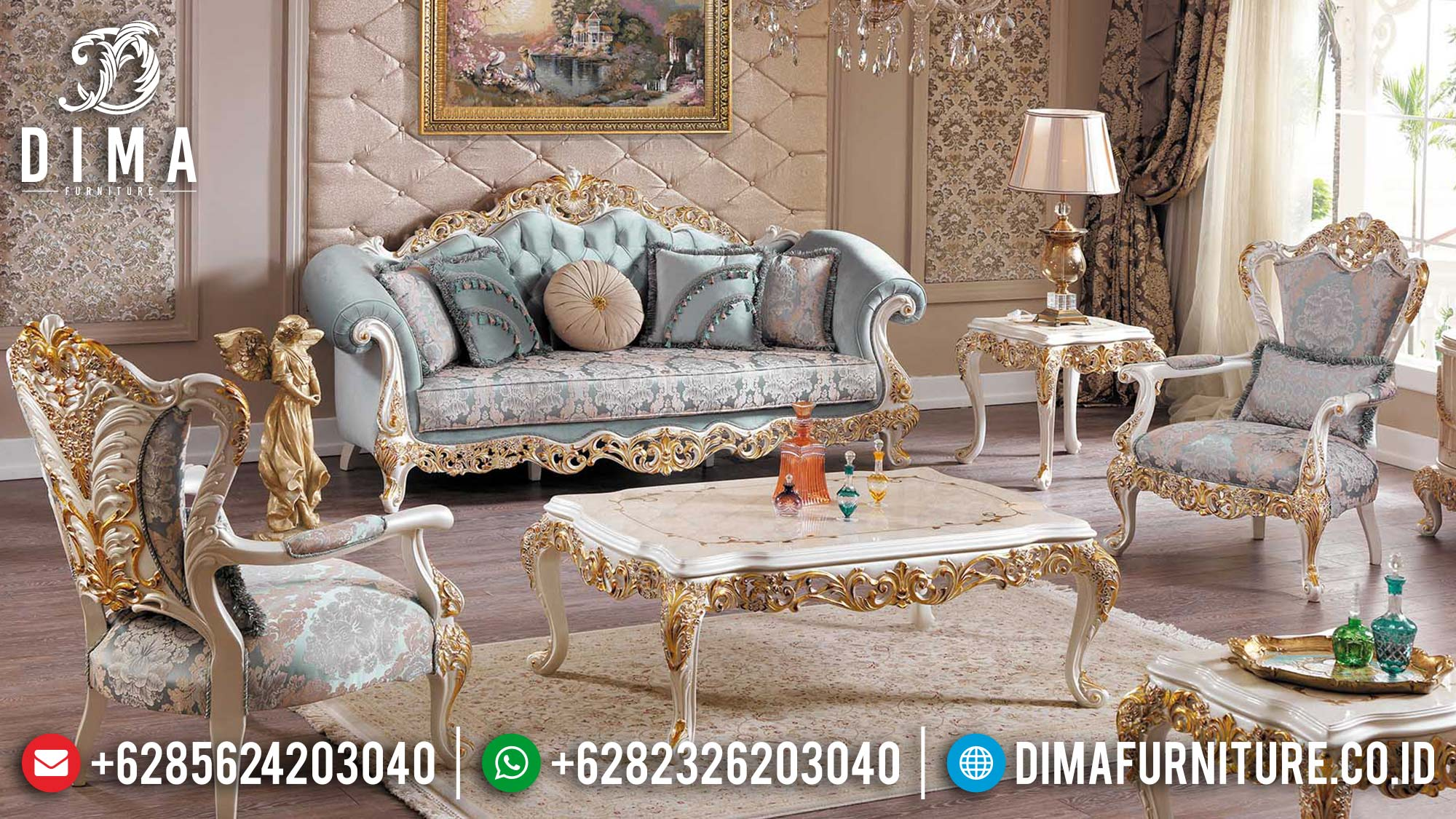 Set 3 2 1 Sofa Tamu Jepara Gold Ivory Duco Gaya Turkey Df-1469