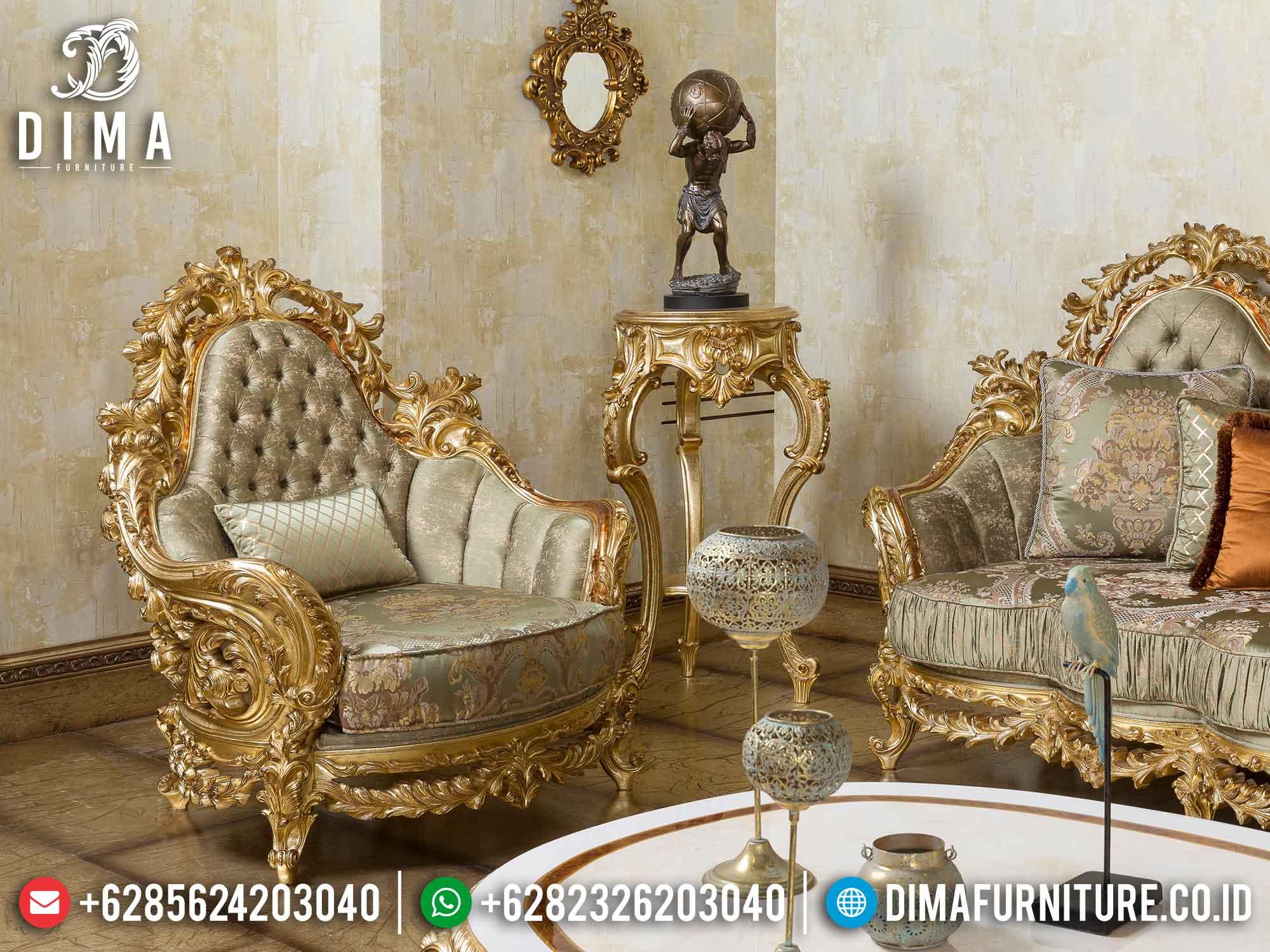 Sofa Tamu Mewah Set Classic Gold Leaf Ukiran Jepara DF-1468 Gambar 2