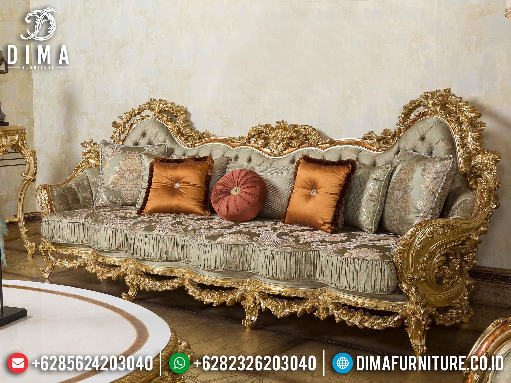 Sofa Tamu Mewah Set Classic Gold Leaf Ukiran Jepara DF-1468 Gambar 3