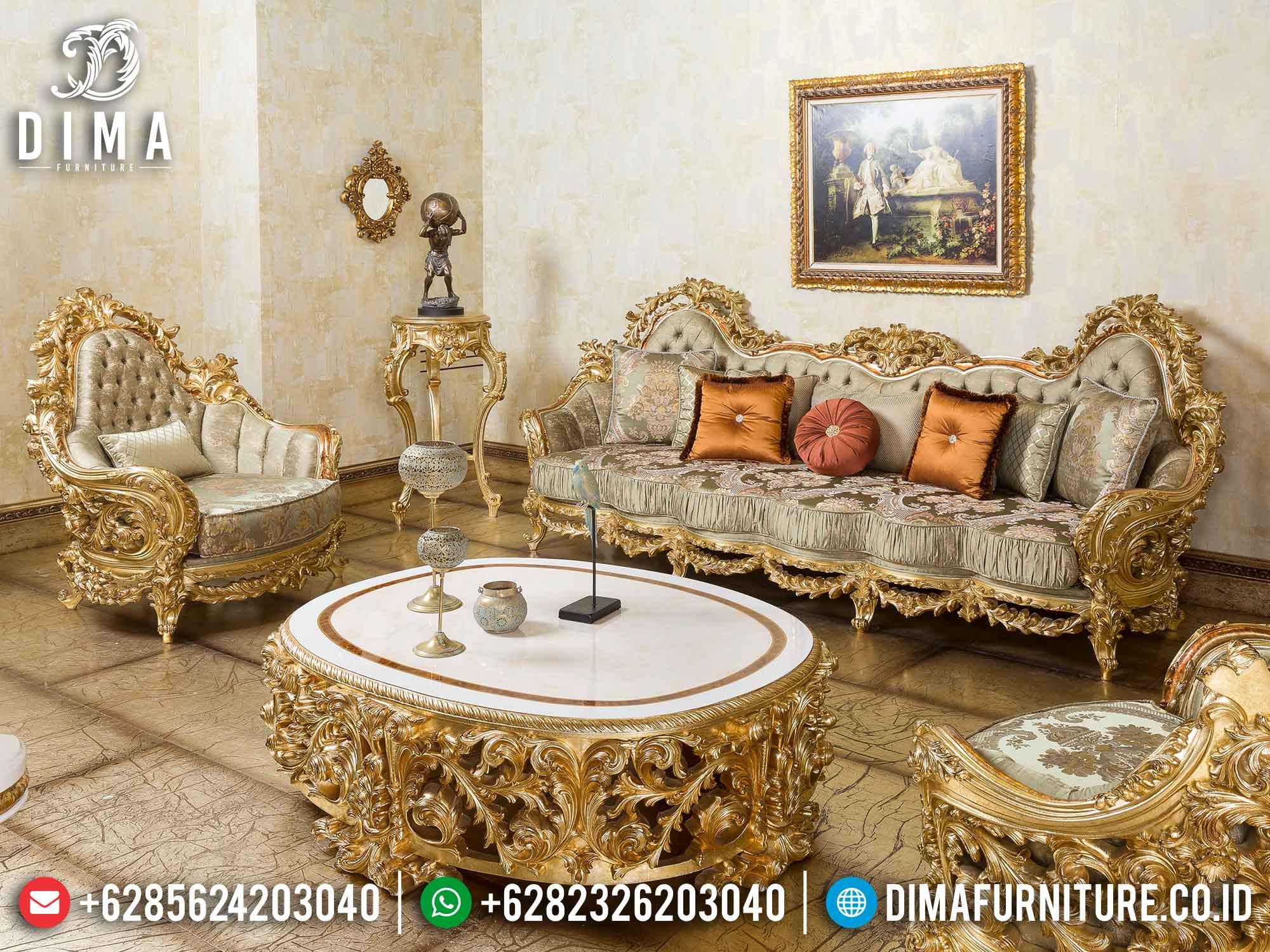 Sofa Tamu Mewah Set Classic Gold Leaf Ukiran Jepara DF-1468