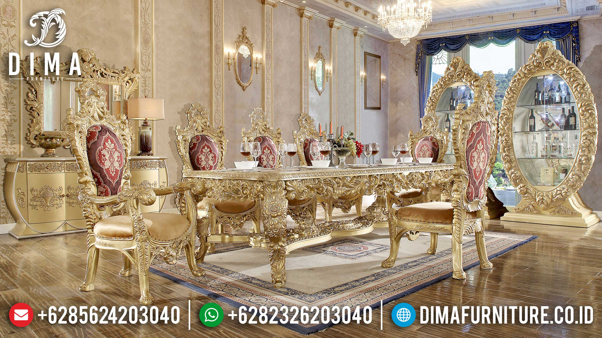 Gold Classic Set Meja Makan Mewah Jepara European DF-1513